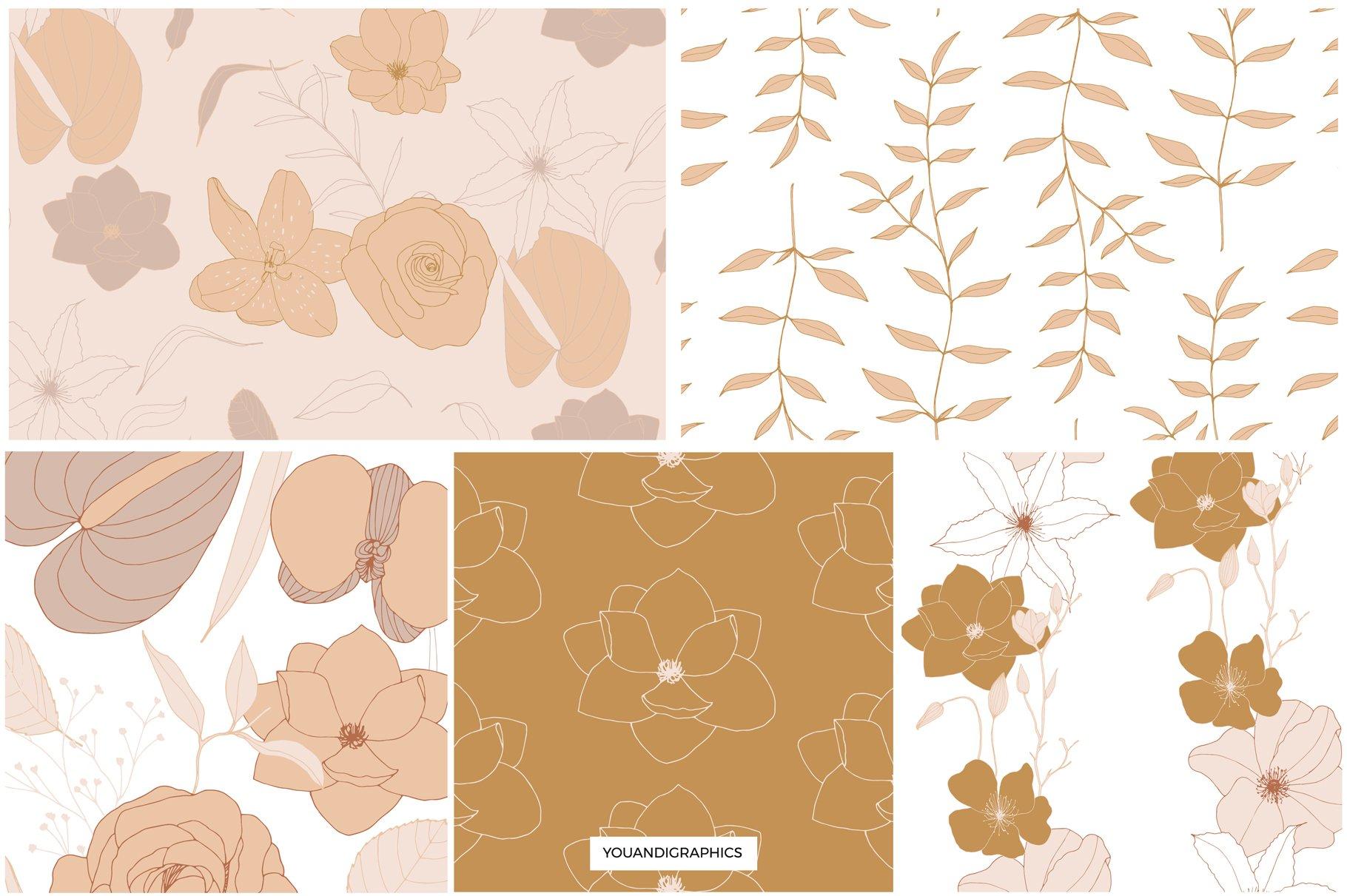 手绘盛开花卉花朵矢量无缝隙图案素材 Blooming Garden Floral Patterns插图(1)