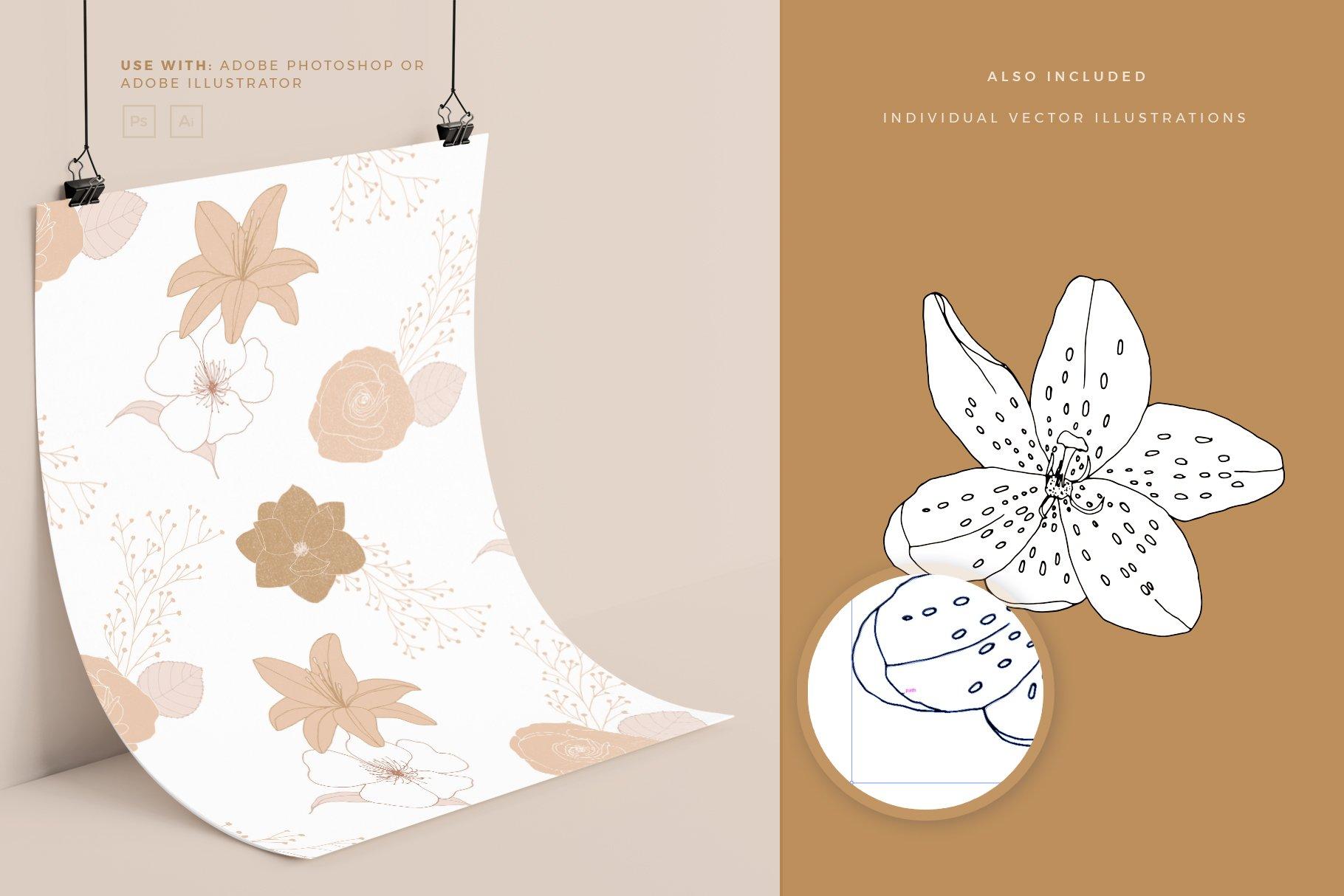 手绘盛开花卉花朵矢量无缝隙图案素材 Blooming Garden Floral Patterns插图(3)