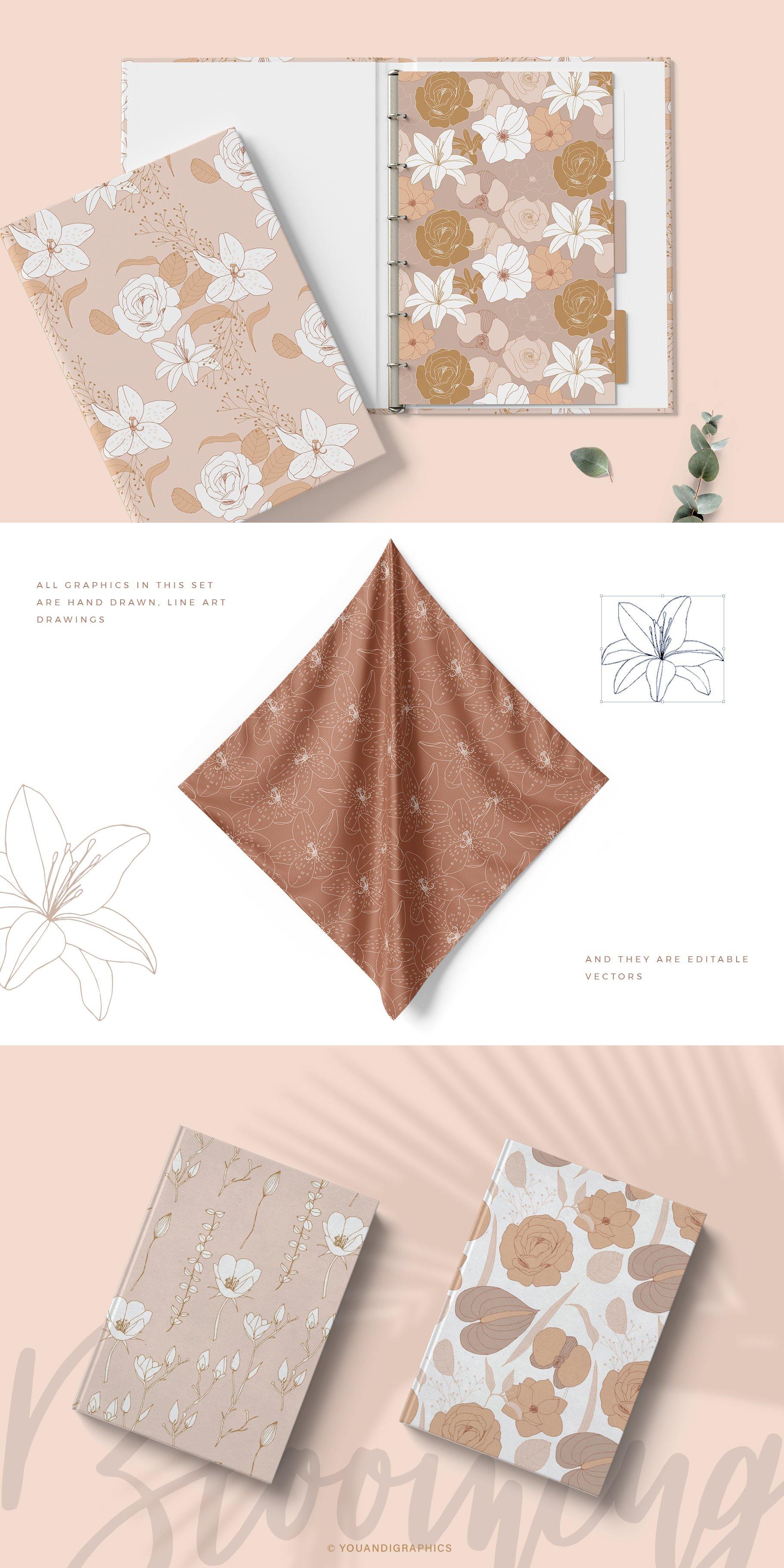 手绘盛开花卉花朵矢量无缝隙图案素材 Blooming Garden Floral Patterns插图(5)