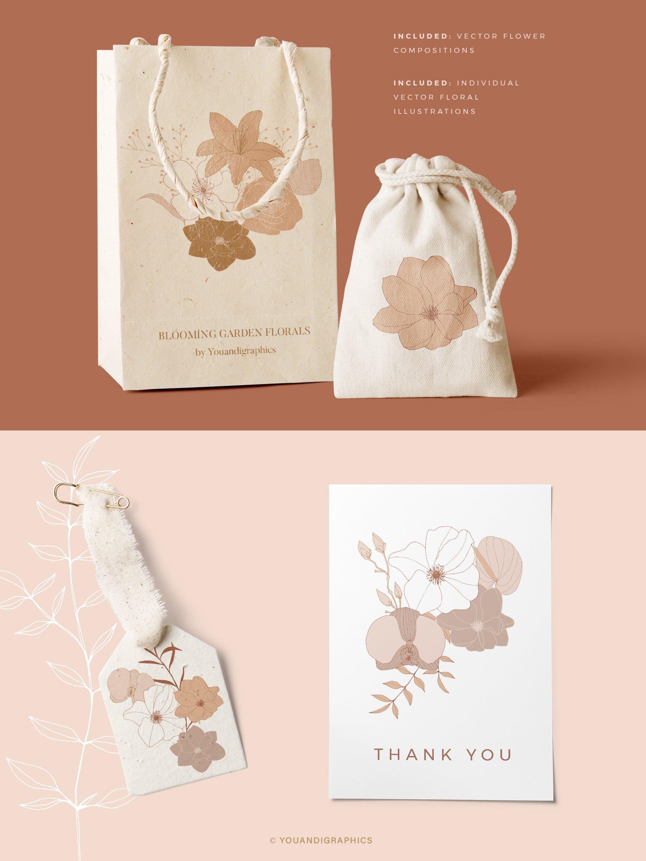 手绘盛开花卉花朵矢量无缝隙图案素材 Blooming Garden Floral Patterns插图(8)
