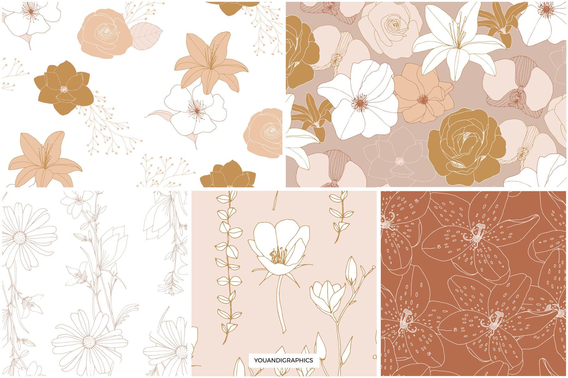 手绘盛开花卉花朵矢量无缝隙图案素材 Blooming Garden Floral Patterns插图(10)