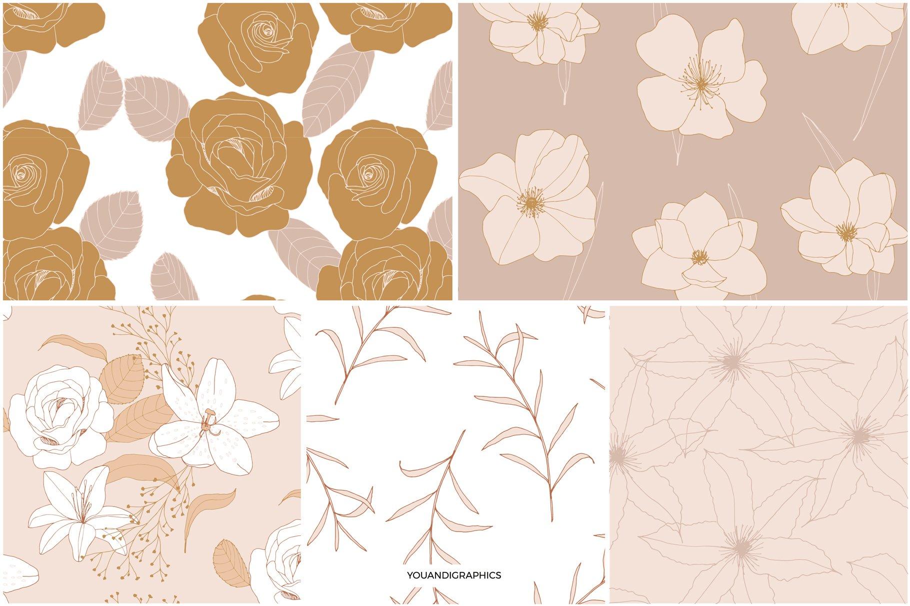 手绘盛开花卉花朵矢量无缝隙图案素材 Blooming Garden Floral Patterns插图(11)
