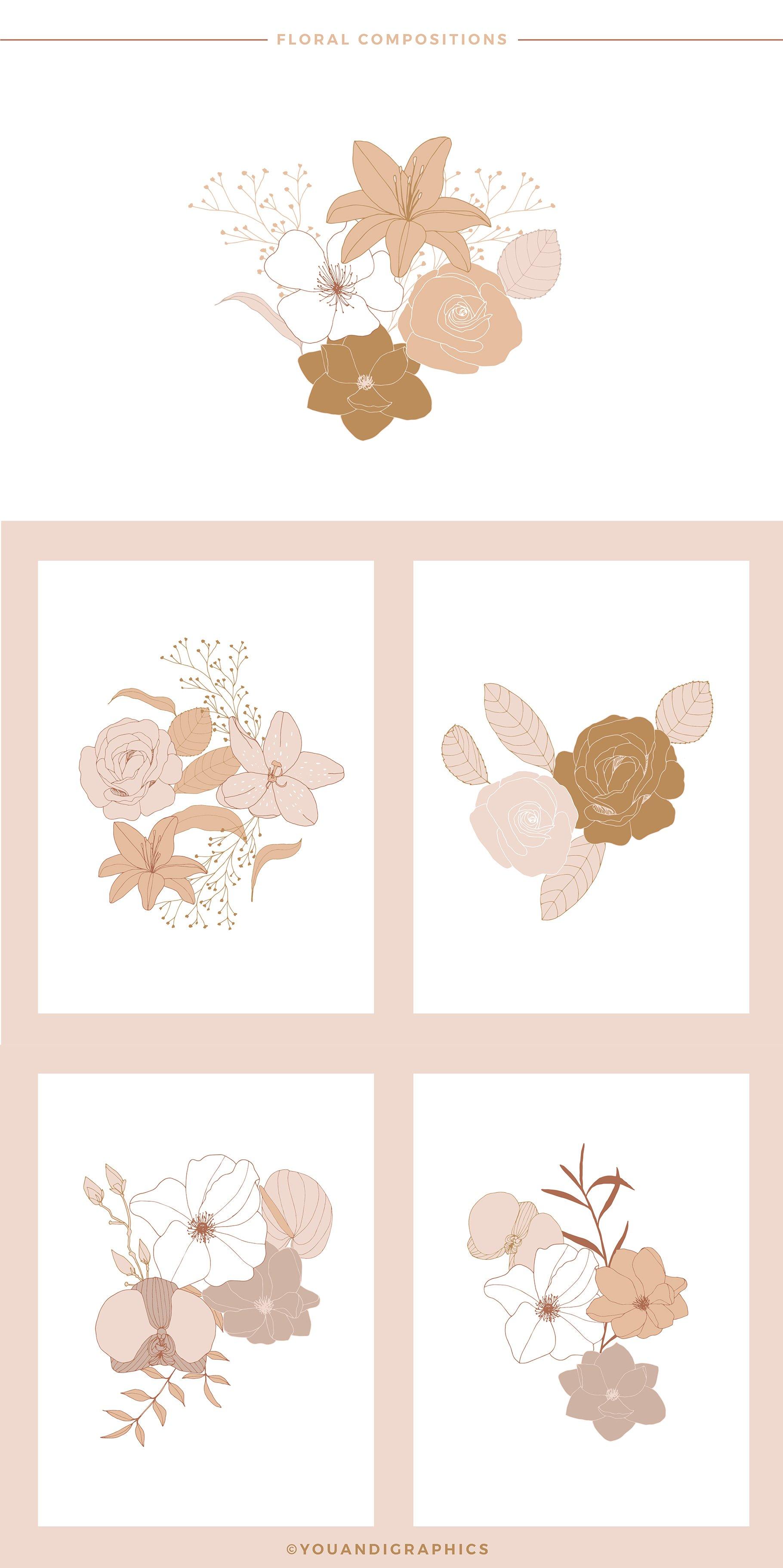 手绘盛开花卉花朵矢量无缝隙图案素材 Blooming Garden Floral Patterns插图(12)