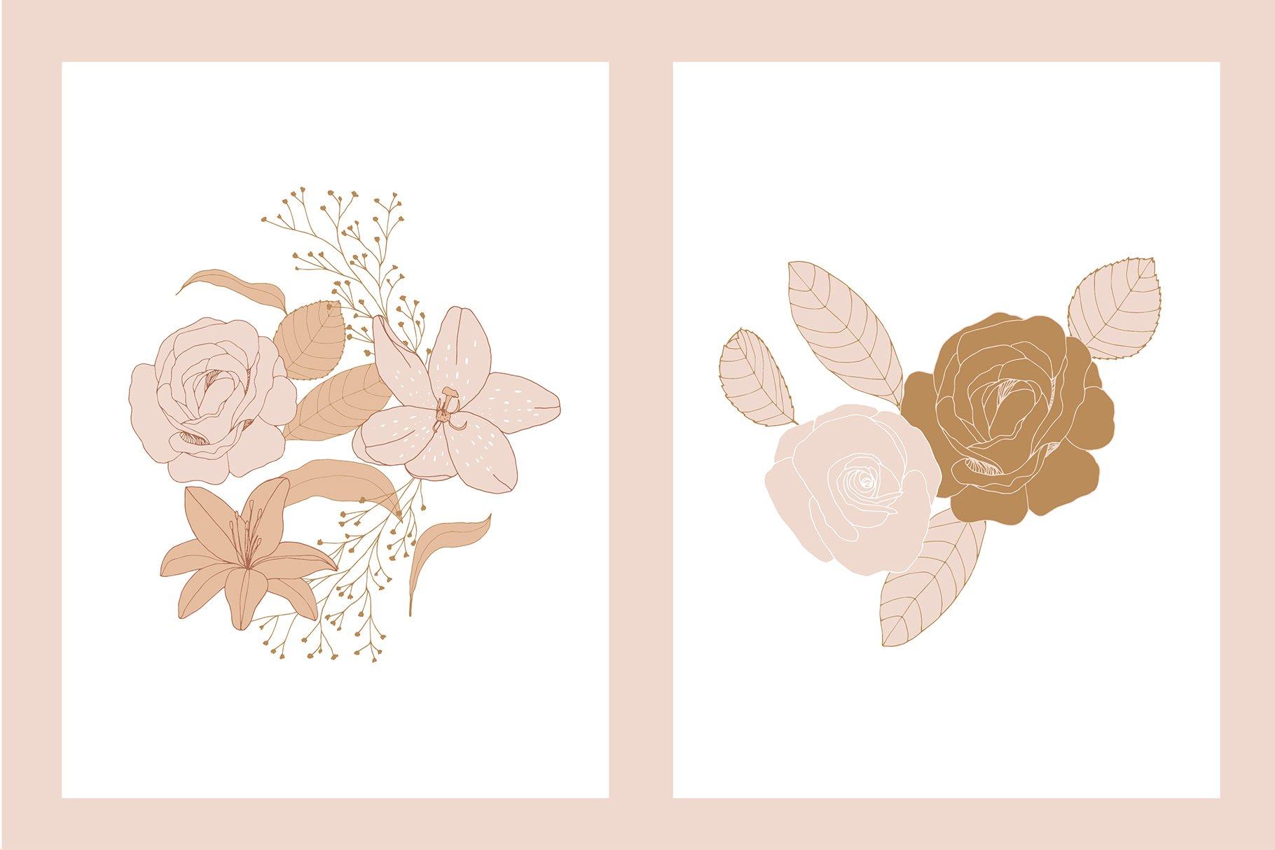 手绘盛开花卉花朵矢量无缝隙图案素材 Blooming Garden Floral Patterns插图(13)