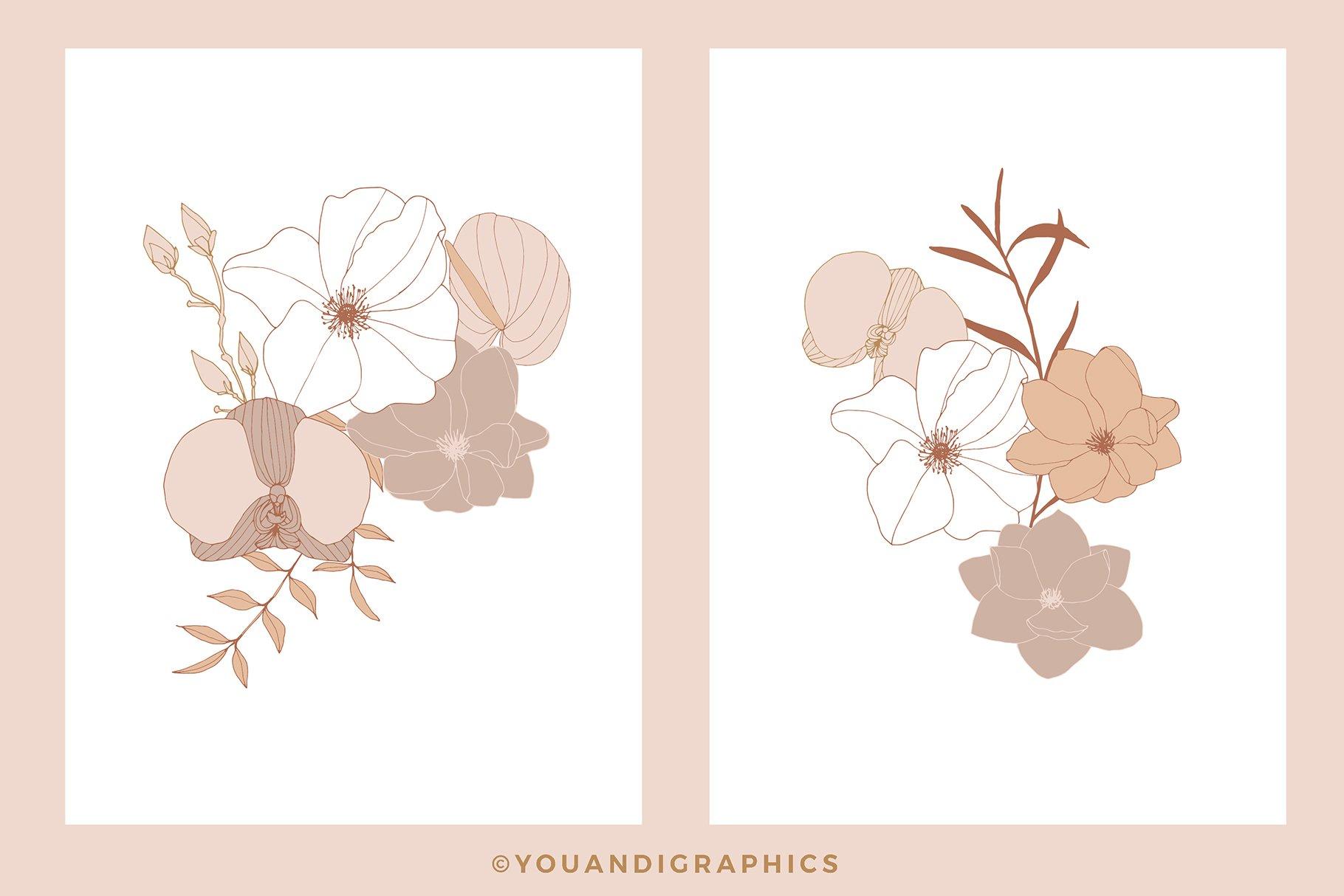 手绘盛开花卉花朵矢量无缝隙图案素材 Blooming Garden Floral Patterns插图(14)