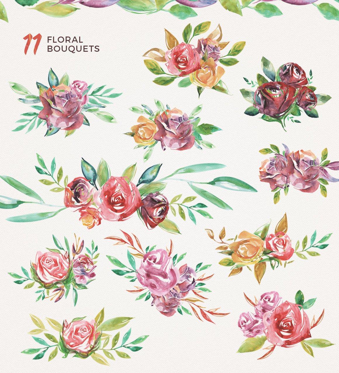 高清手绘花卉树叶水彩剪贴画PNG免抠图片素材 Watercolor Handmade Design Bundle插图(2)