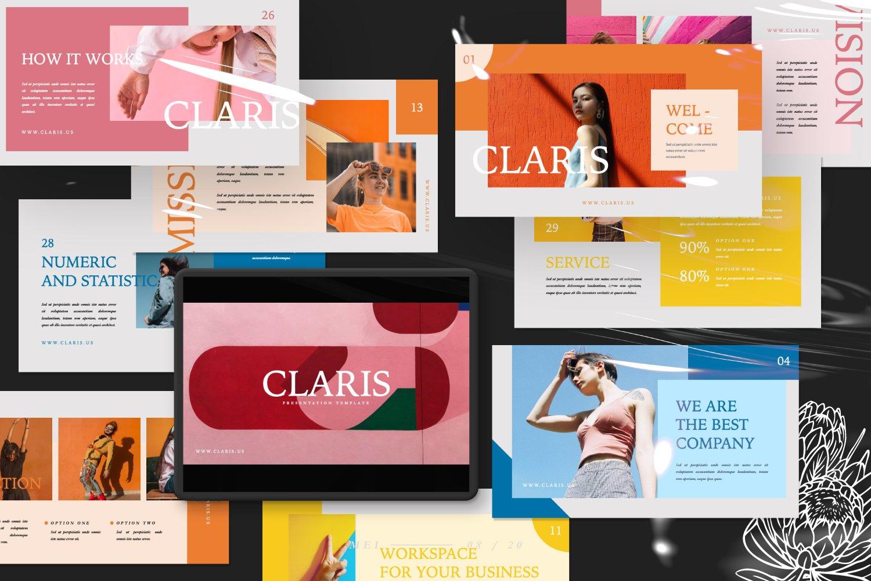 [淘宝购买]现代极简女装品牌摄影作品集设计Keynote演示文稿模板 CLARIS Pastel Keynote Template插图(8)