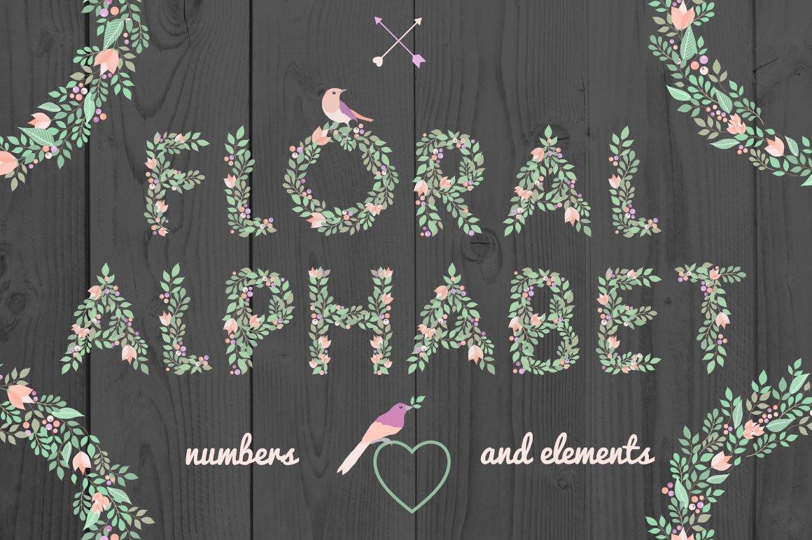 手绘字母数字花卉元素矢量素材 Floral Alphabet And Elements插图