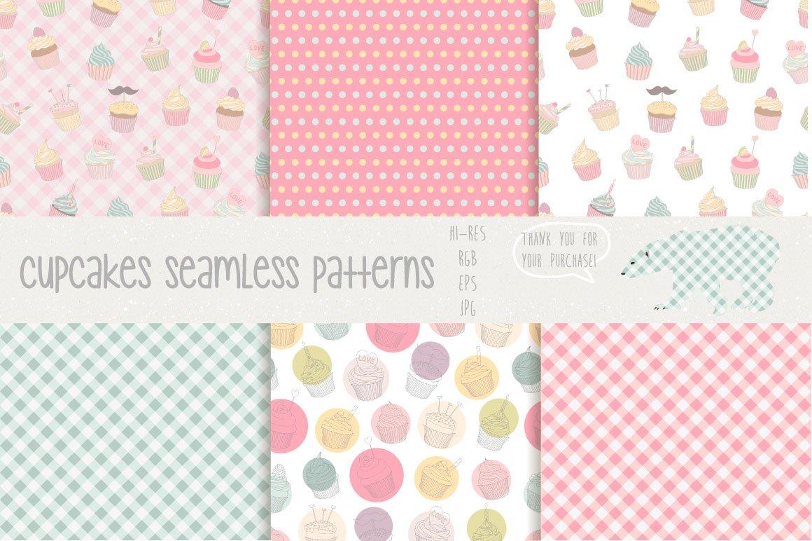 手绘纸杯蛋糕矢量素材 Сupcakes Patterns And Illustration插图(1)