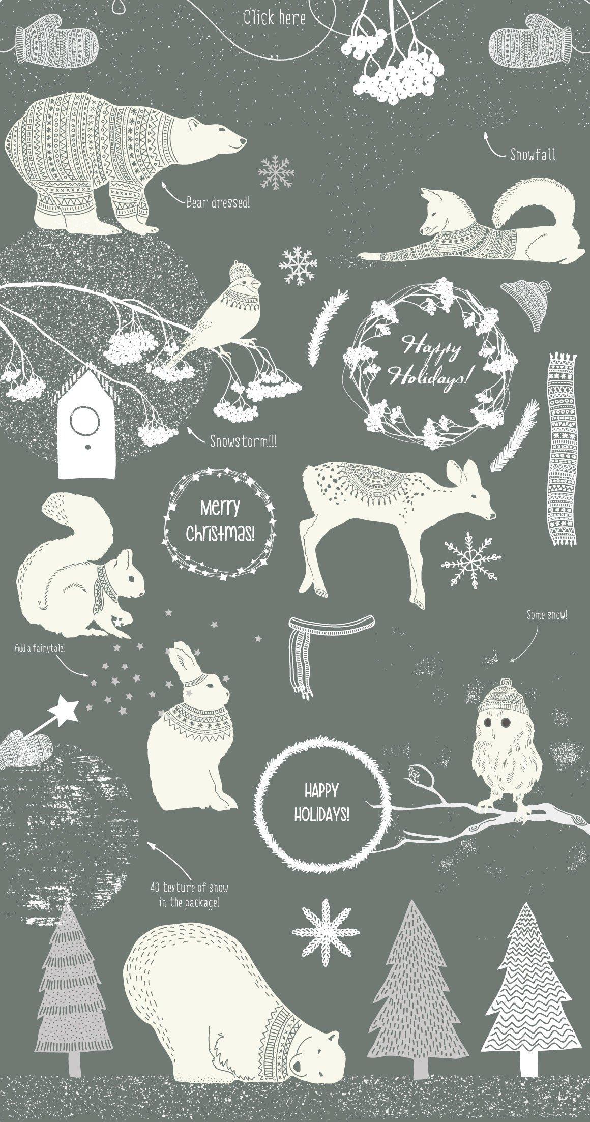 冬季圣诞季主题北极熊动物植物矢量素材 Winter Collection插图(1)