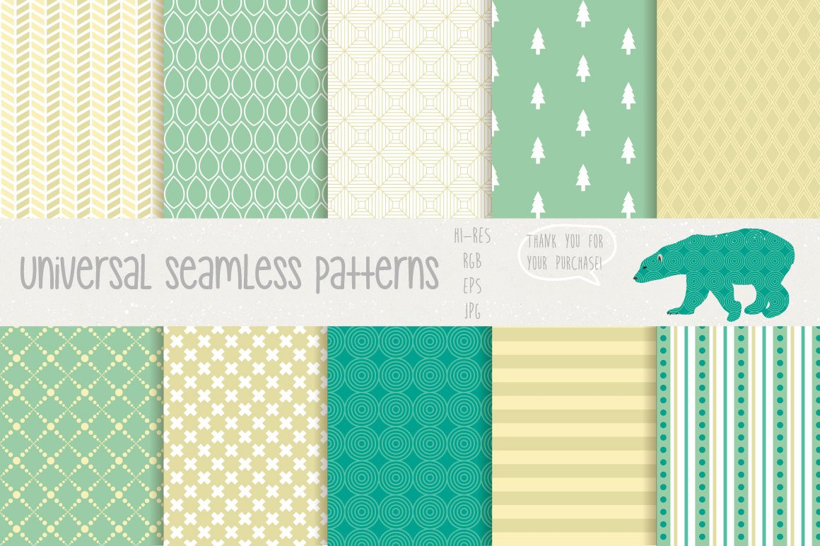 20款无缝隙矢量图案背景素材 Universal Seamless Patterns插图(2)