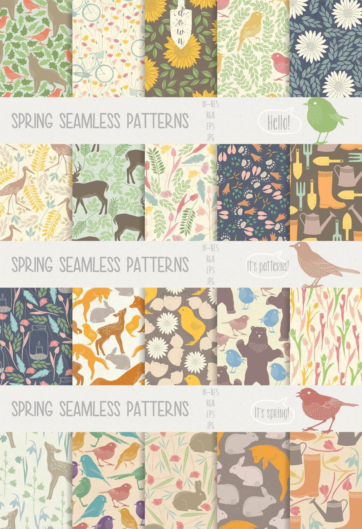 147款春天主题动物植物纹理矢量素材 Spring Collection插图(4)