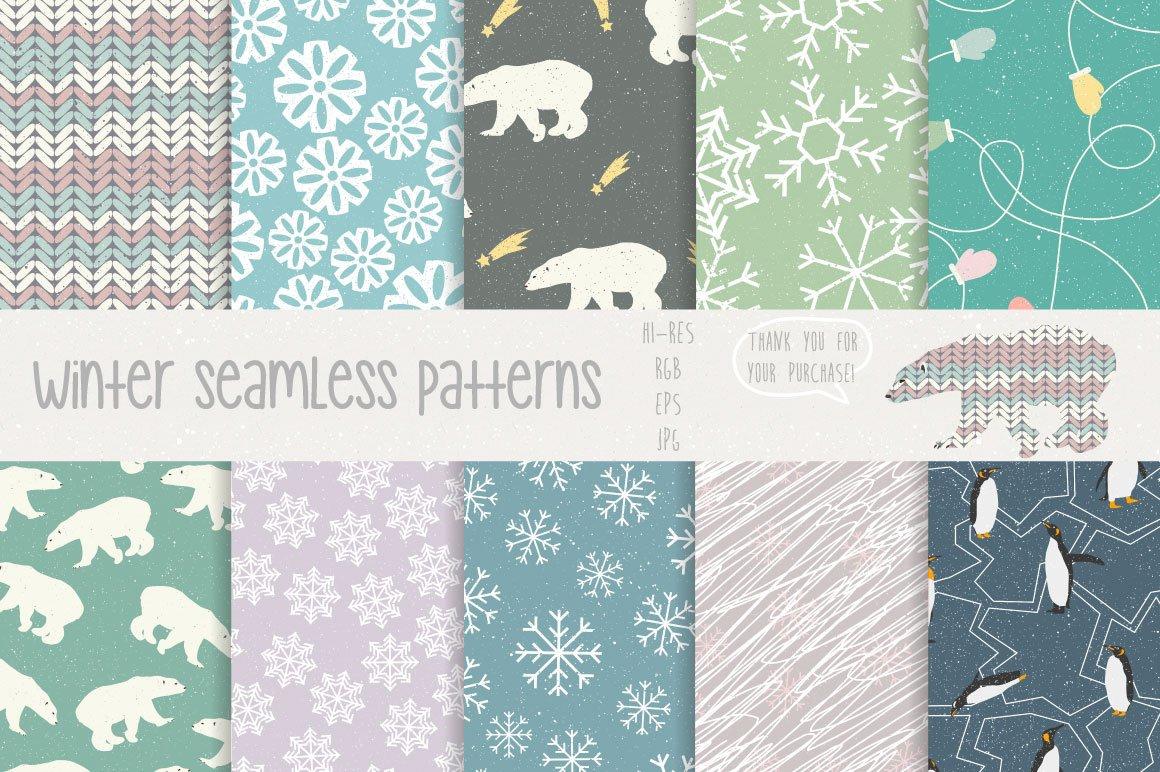 30款圣诞节主题无缝隙矢量图案素材 Winter Patterns插图(4)