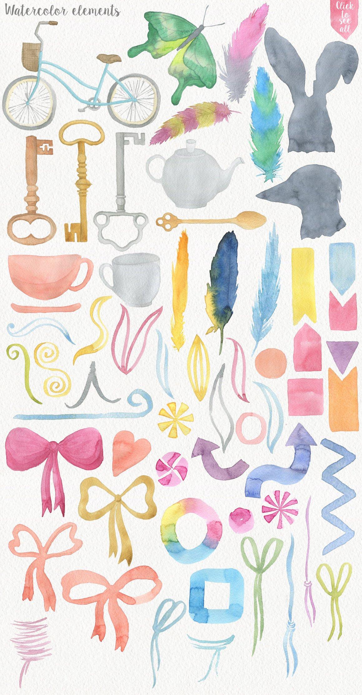 191种高清手绘花卉动物元素水彩剪贴画PNG素材 Garden Watercolor DIY插图(3)