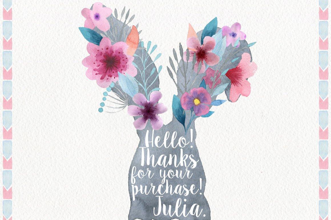 191种高清手绘花卉动物元素水彩剪贴画PNG素材 Garden Watercolor DIY插图(4)