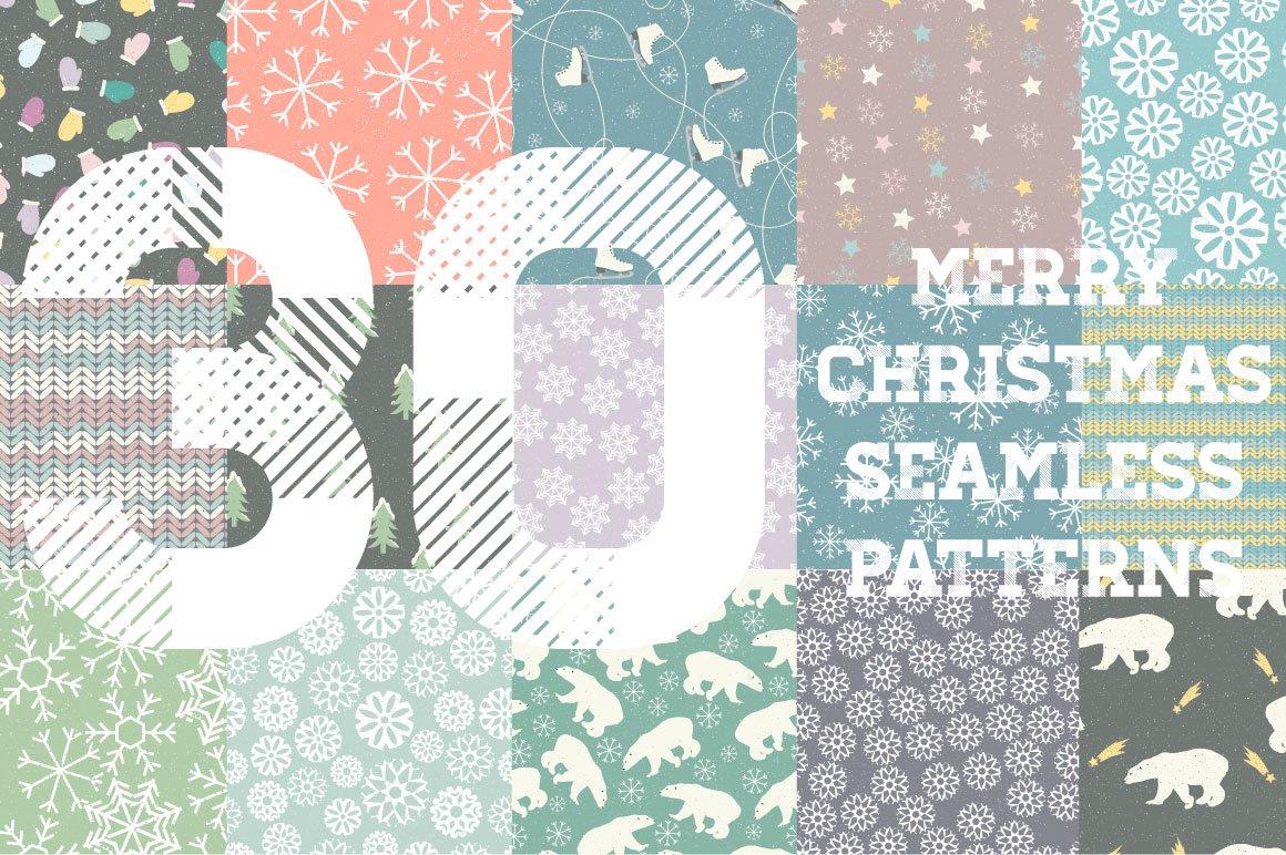 30款圣诞节主题无缝隙矢量图案素材 Winter Patterns插图