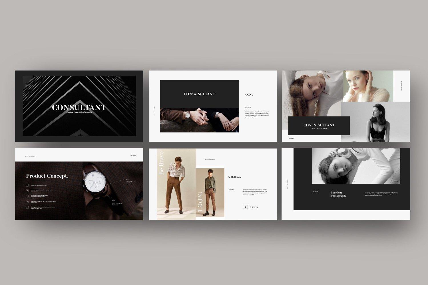 时尚服装摄影作品集设计演示文稿模板 Consultant – Powerpoint Minimalis Creative插图(1)