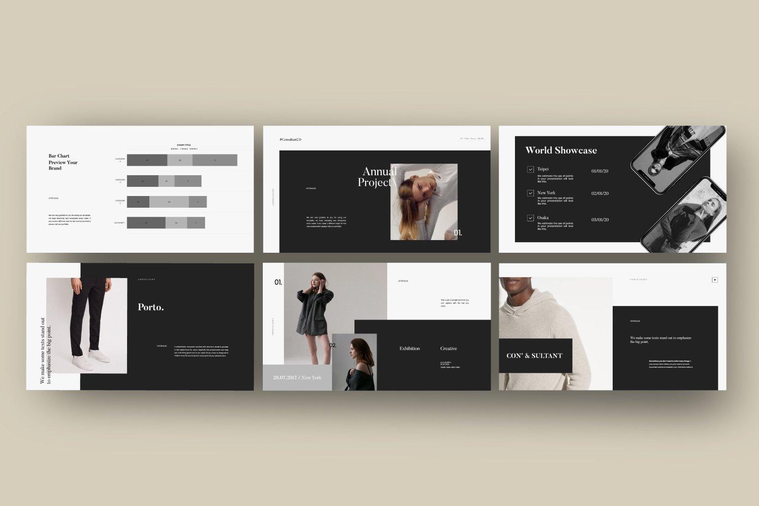 时尚服装摄影作品集设计演示文稿模板 Consultant – Powerpoint Minimalis Creative插图(3)