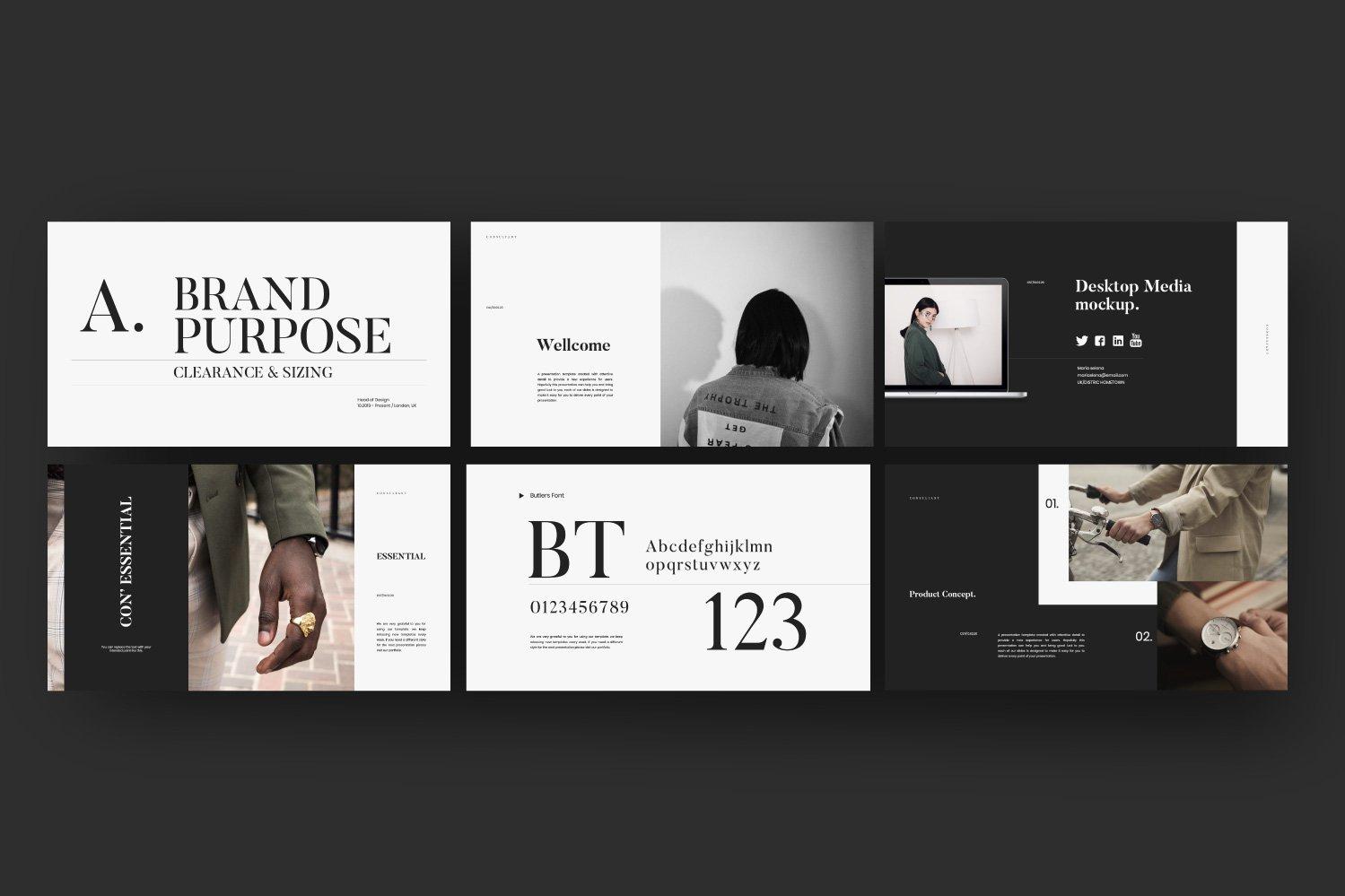 时尚服装摄影作品集设计演示文稿模板 Consultant – Powerpoint Minimalis Creative插图(4)