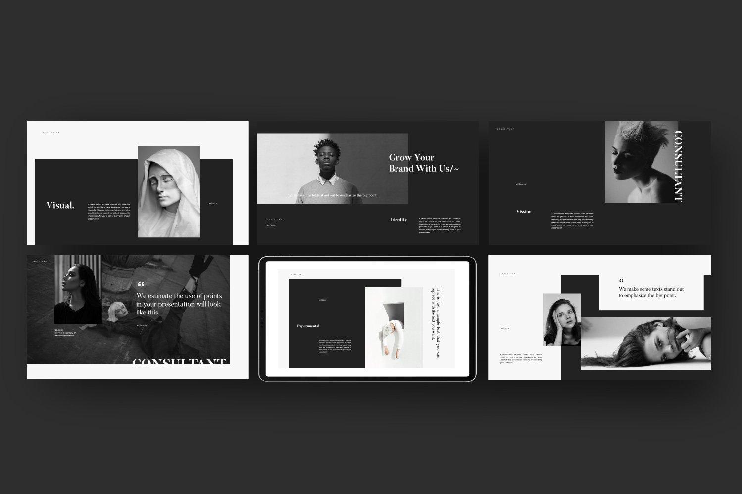时尚服装摄影作品集设计演示文稿模板 Consultant – Powerpoint Minimalis Creative插图(5)
