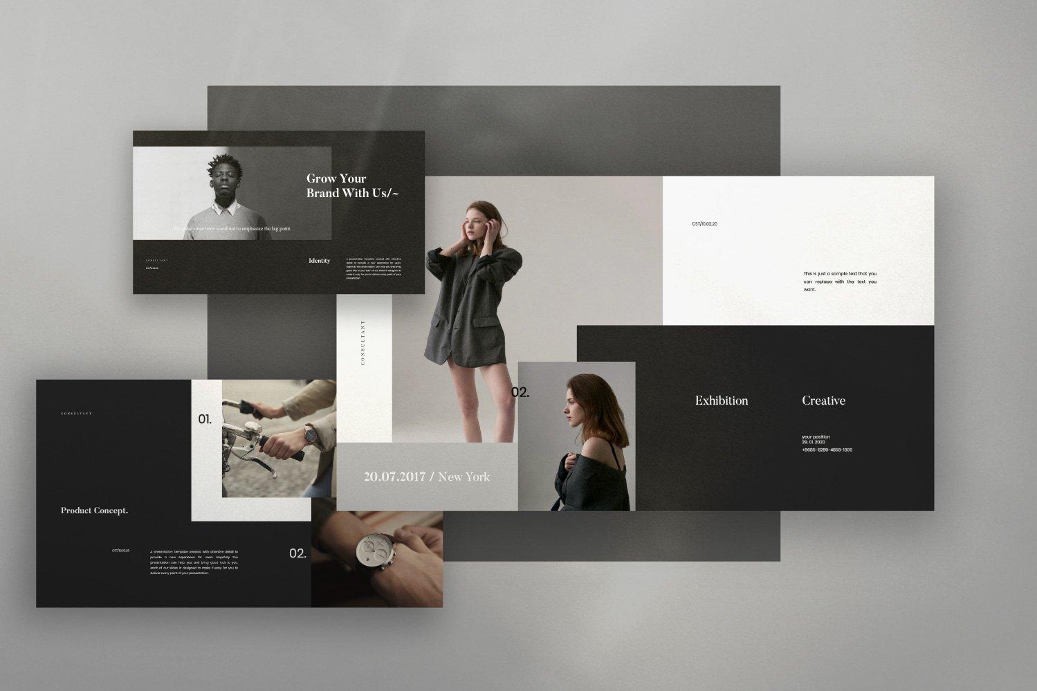 时尚服装摄影作品集设计演示文稿模板 Consultant – Powerpoint Minimalis Creative插图(7)