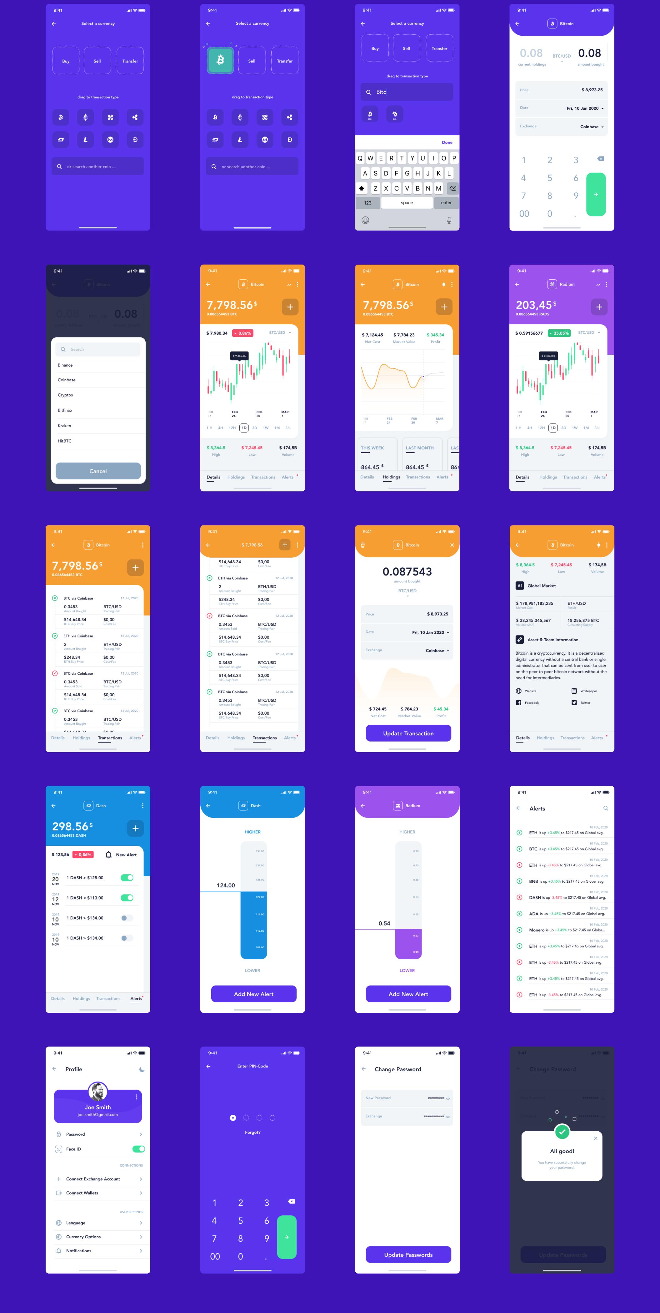 现代金融加密货币电子钱包APP应用设计UI套件 Hashed Wallet UI Kit插图(3)