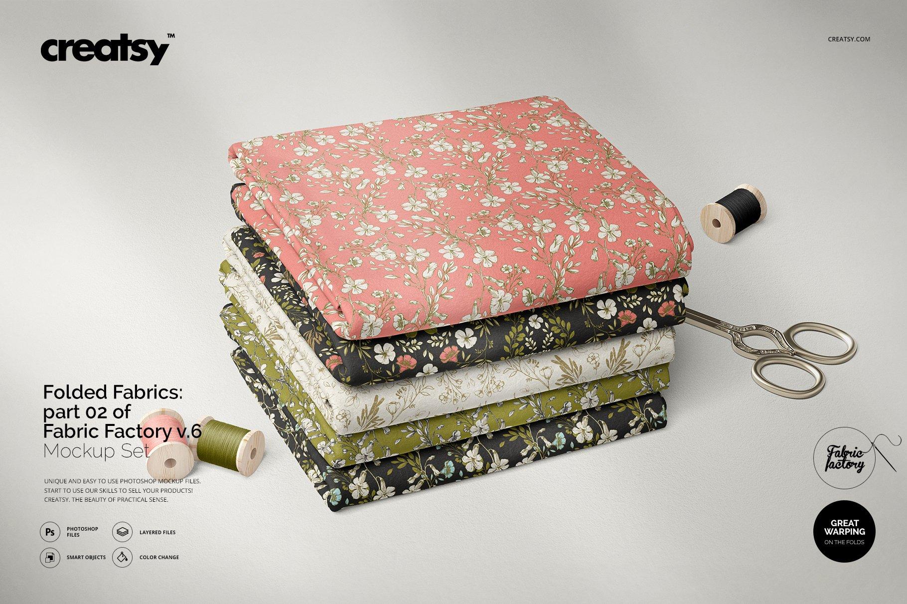 折叠纺织面料布料印花设计展示样机 Folded Fabrics Mockup 02/FF v.6插图