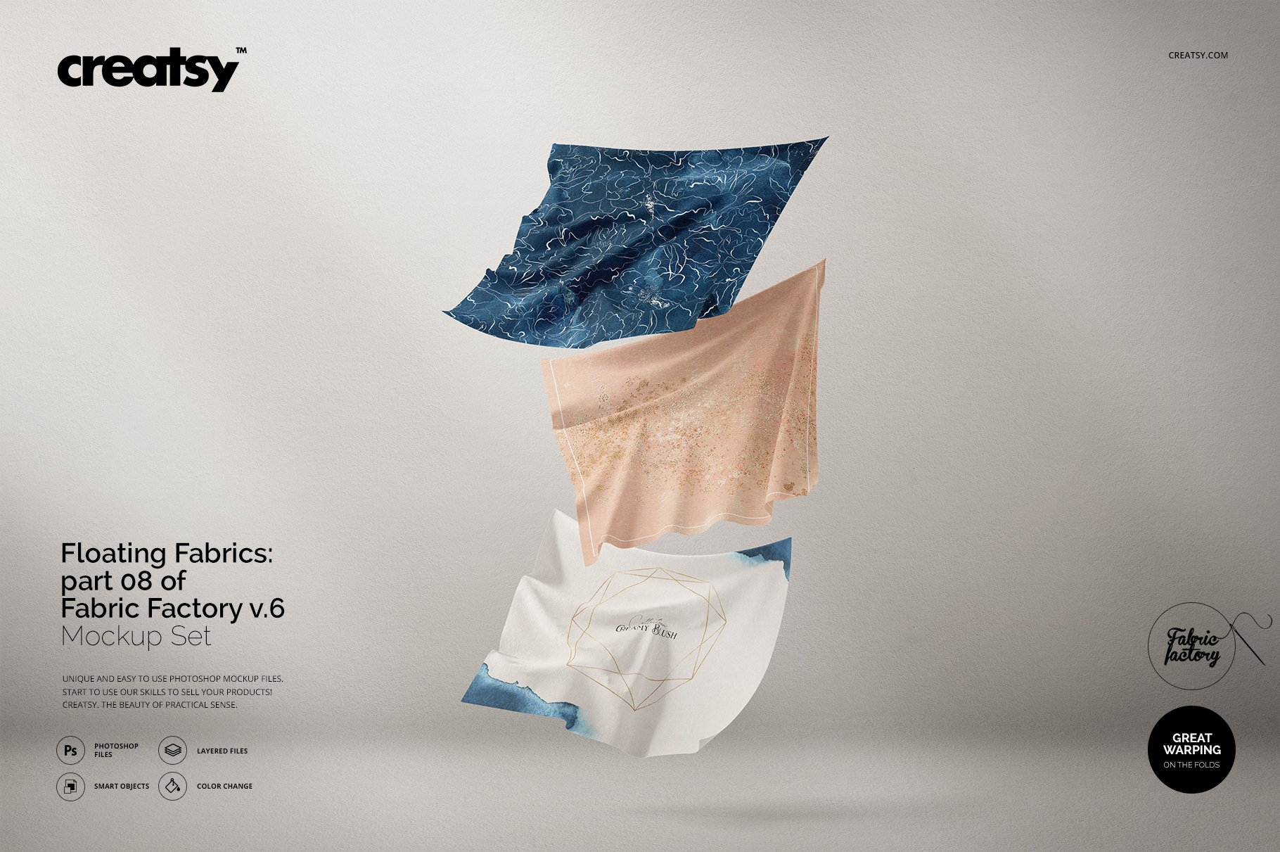 悬浮纺织物方巾印花设计展示样机 Floating Fabrics Mockup 08/FF v.6插图