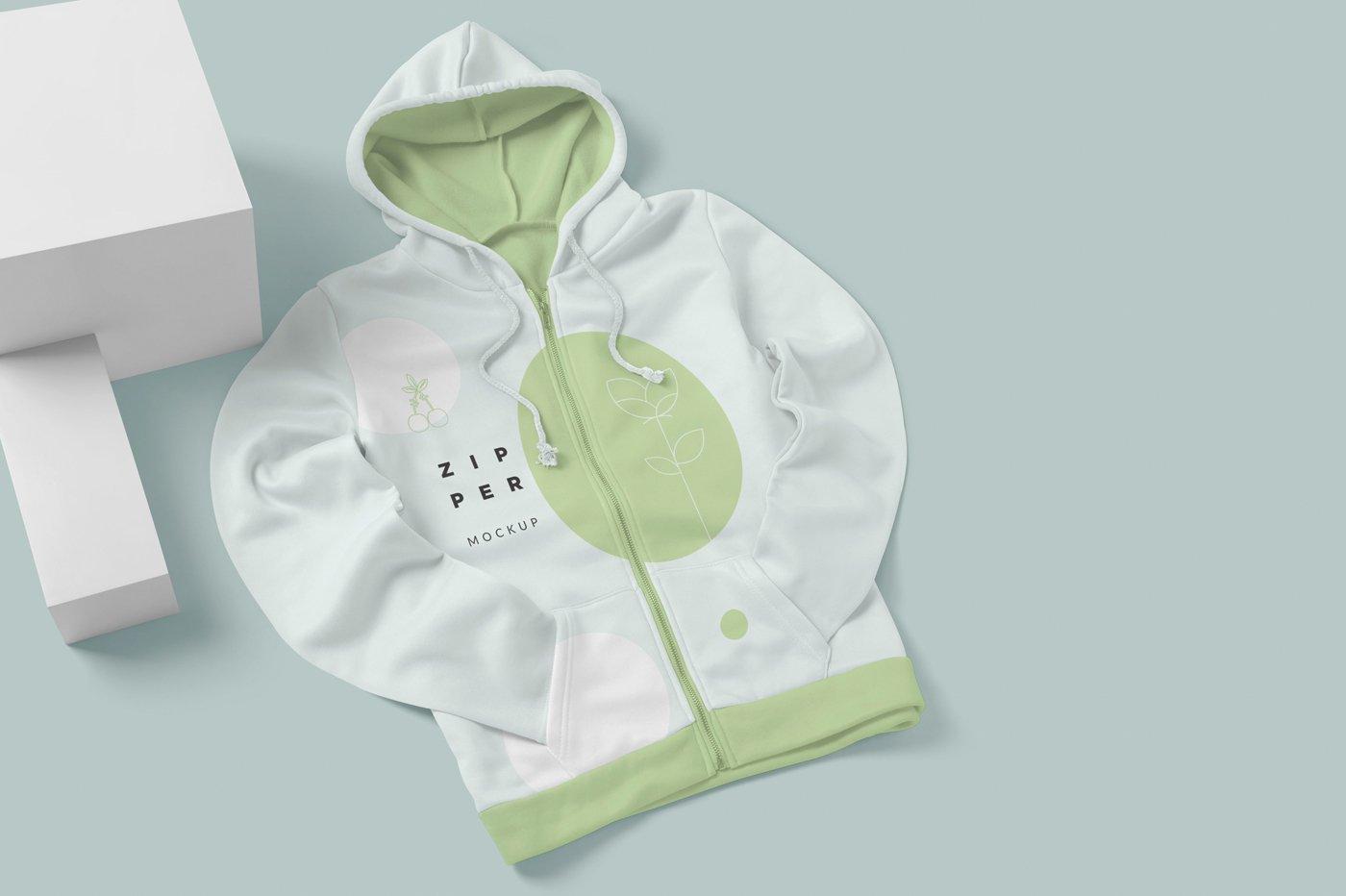 拉链连衣帽卫衣印花设计展示样机模板 Zipper Hoodie Mockup Templates插图