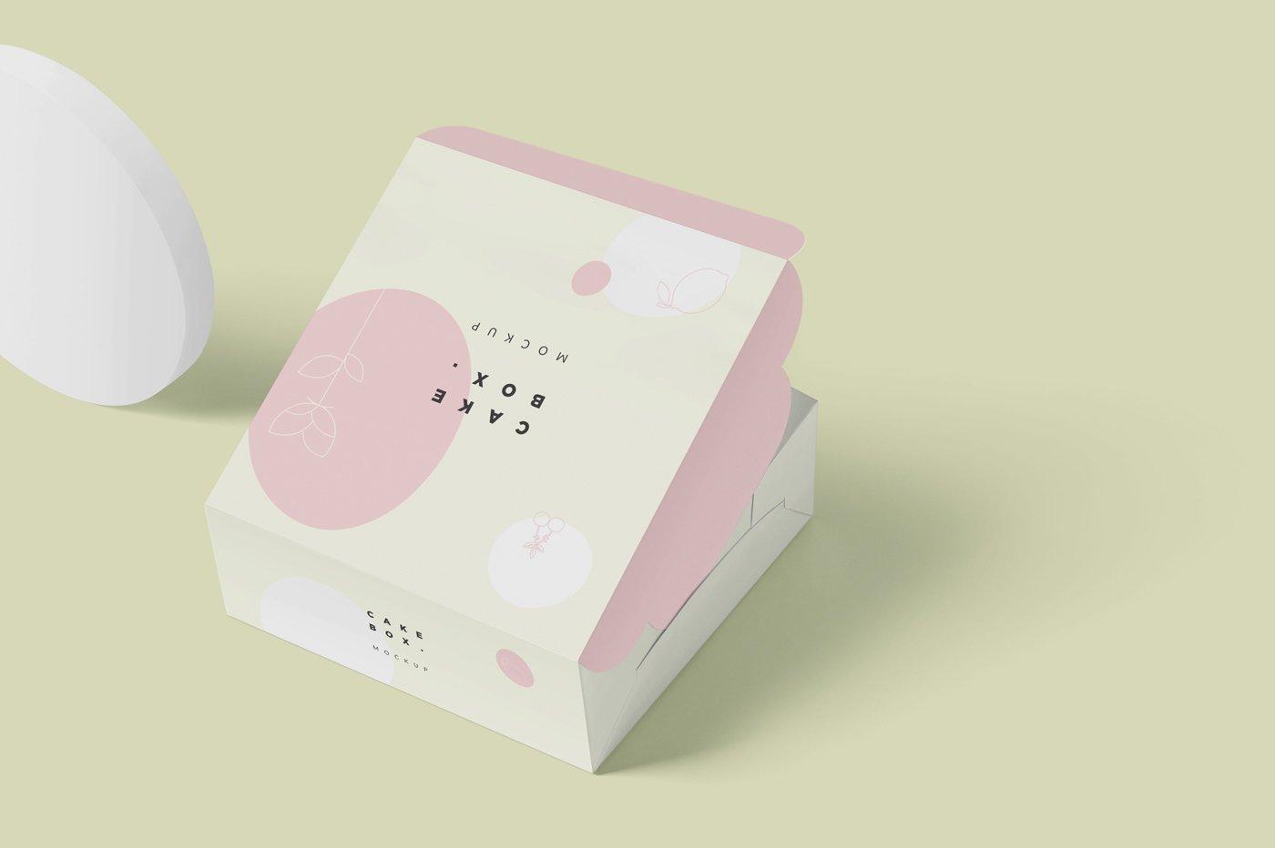 方形蛋糕纸板盒设计展示样机 Large Square Cake Cardboard Box Mockups插图
