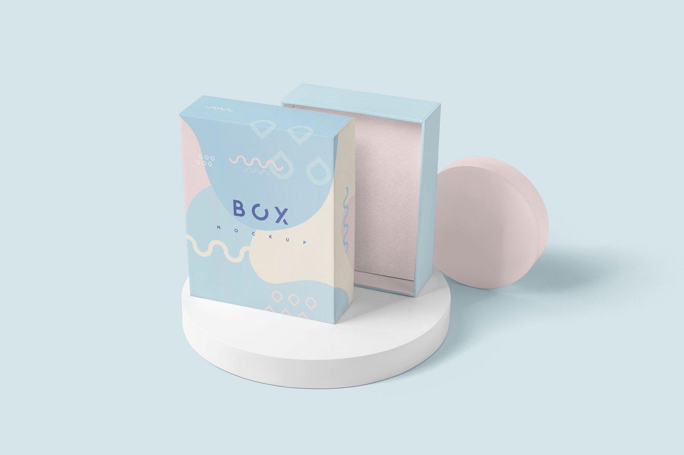 礼品包装纸盒设计展示样机模板 Slim Gift Packaging Box Mockups插图