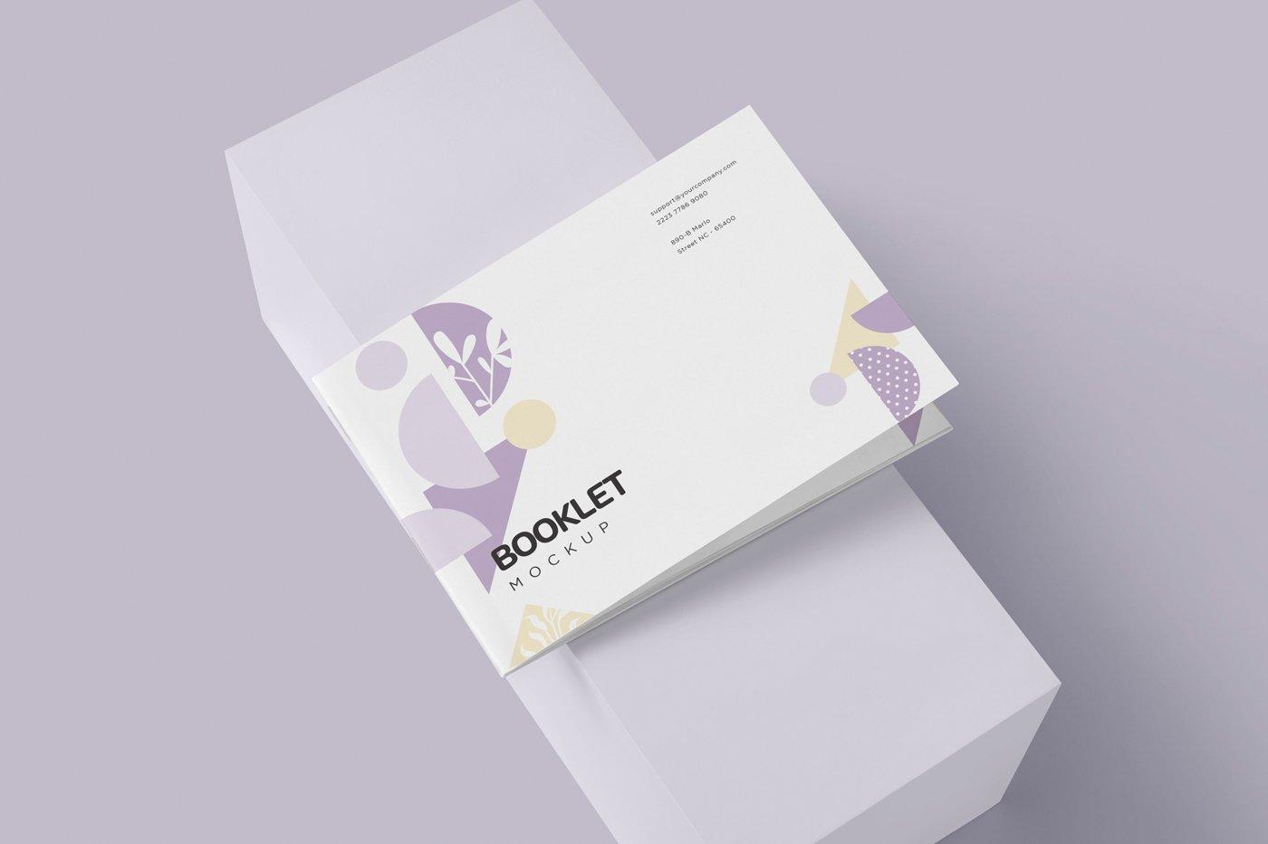 横版宣传手册画册设计展示样机模板 Landscape Booklet Mockup Templates插图