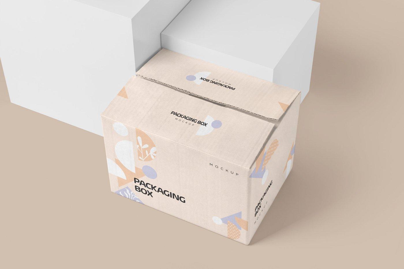 矩形瓦楞硬纸板快递包装箱设计展示样机 Rectangular Cardboard Box Mockups插图
