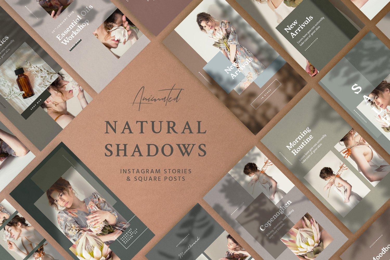 自然阴影服装品牌推广社交新媒体海报设计模板 Natural Shadows Stories – Social Kit插图
