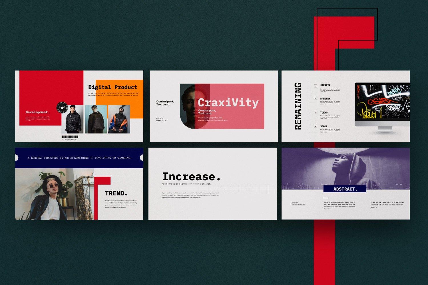时尚潮流商业策划书幻灯片设计模板 CRAXITVIY – Powerpoint插图(6)
