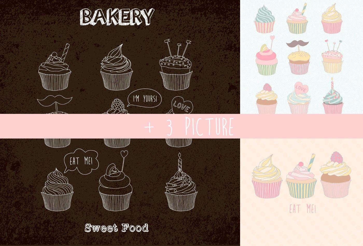 手绘纸杯蛋糕矢量素材 Сupcakes Patterns And Illustration插图(3)