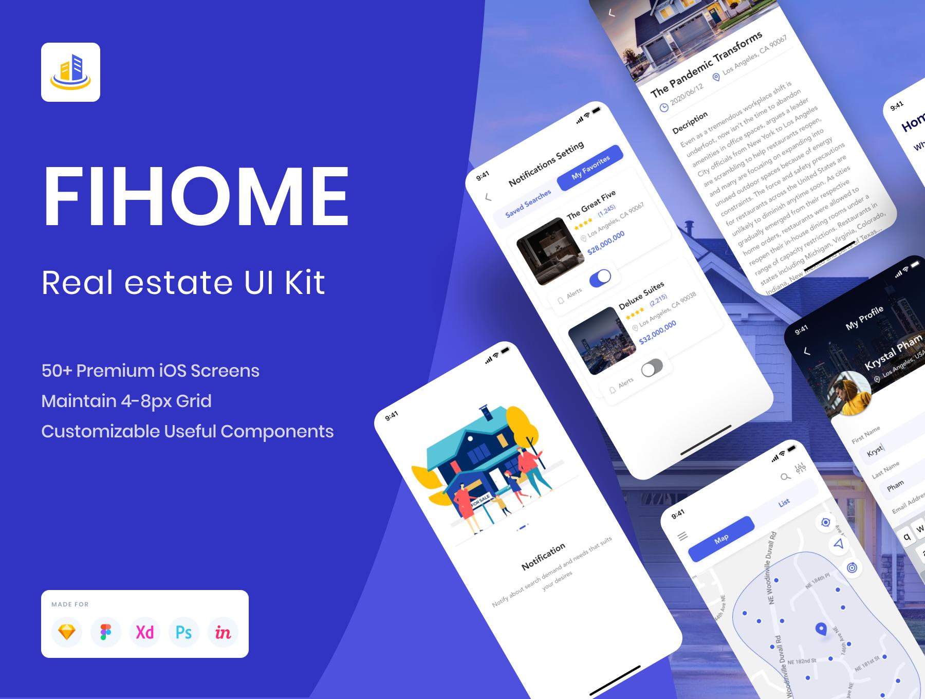 房地产房屋在线租赁销售应用APP UI套件 FiHome – Real estate UI Kit插图
