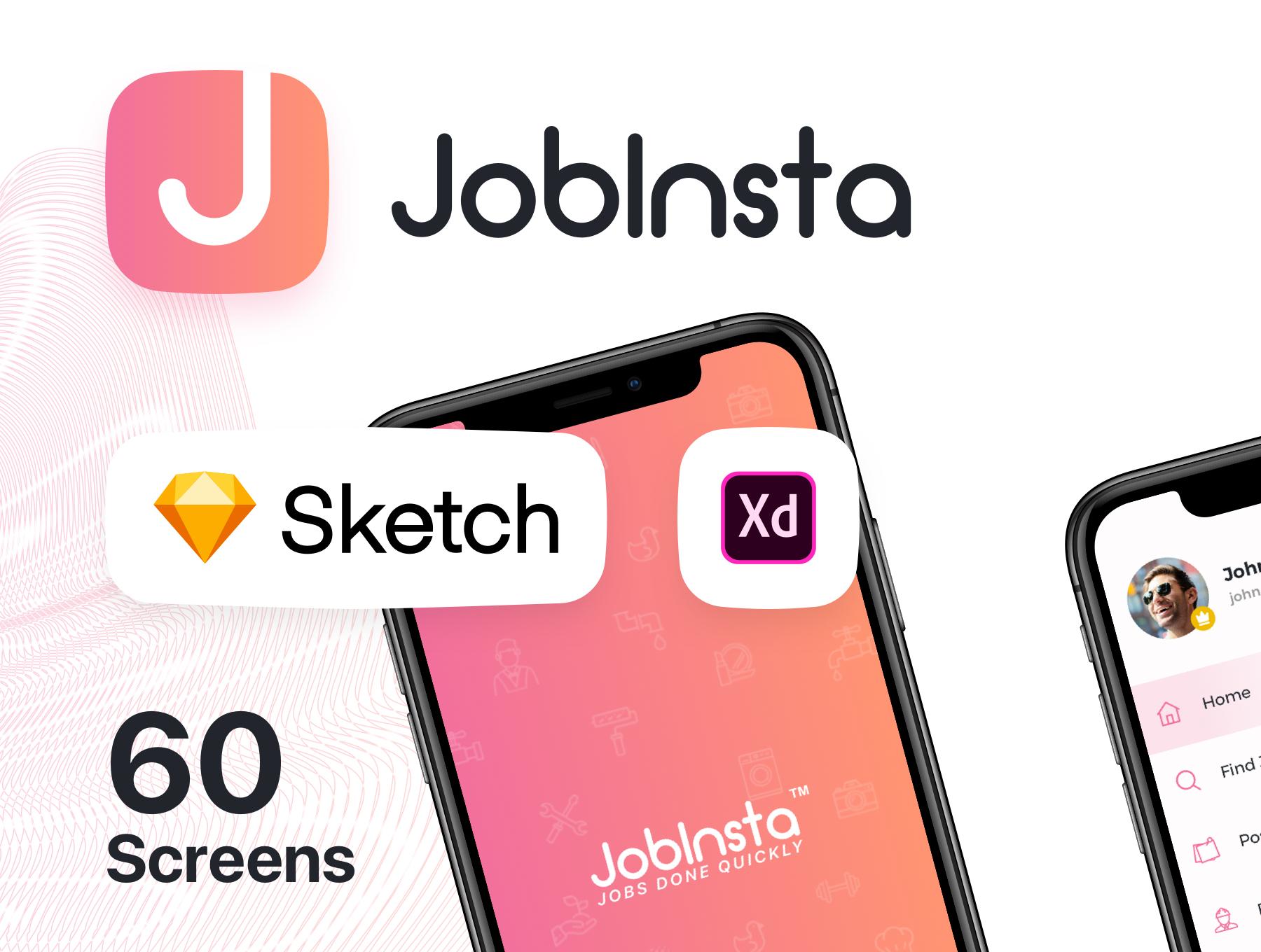 求职家政服务应用APP设计UI套件 JobInsta UI Kit插图