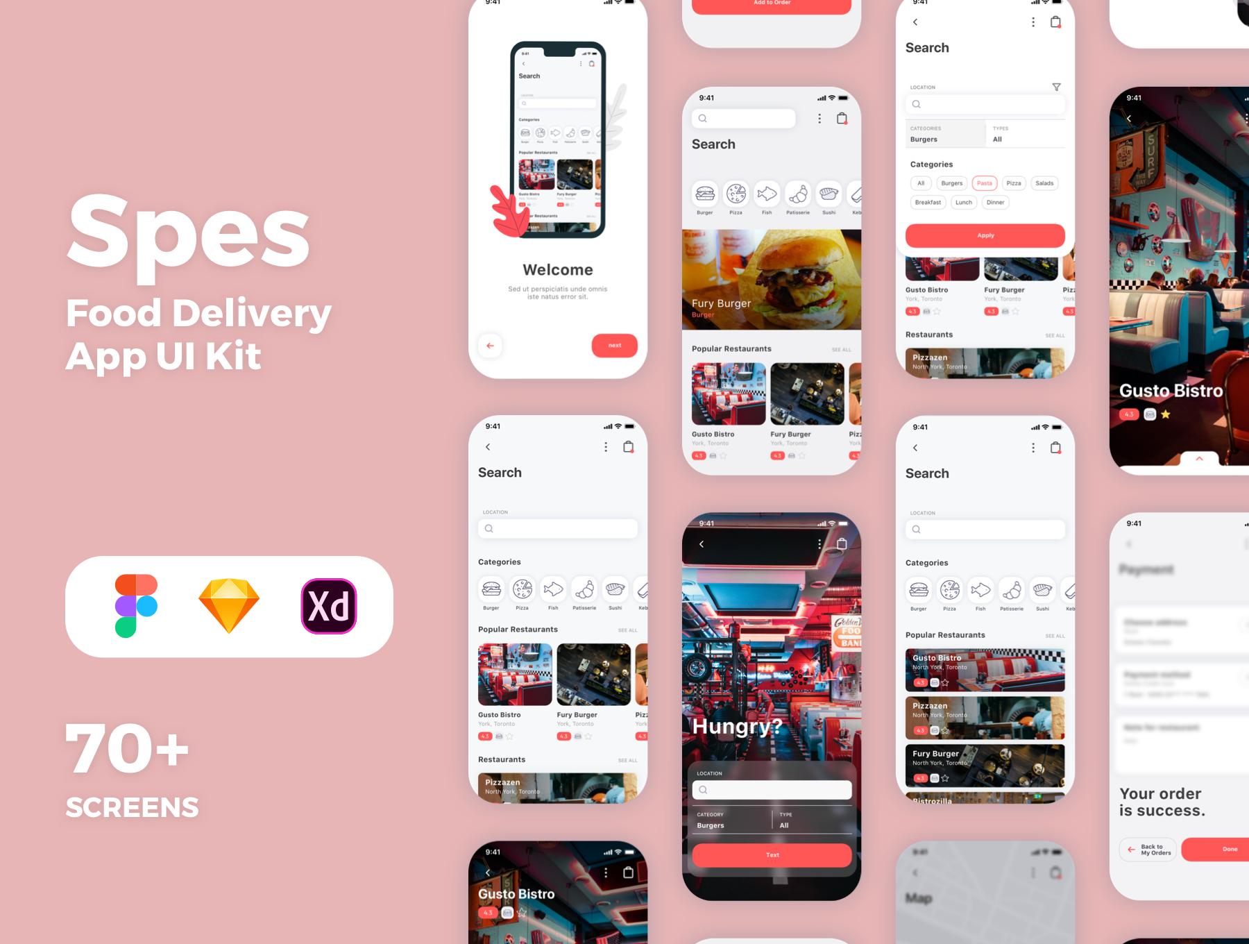 食物外卖配送应用APP设计UI套件 Spes Food Delivery App UI Kit插图