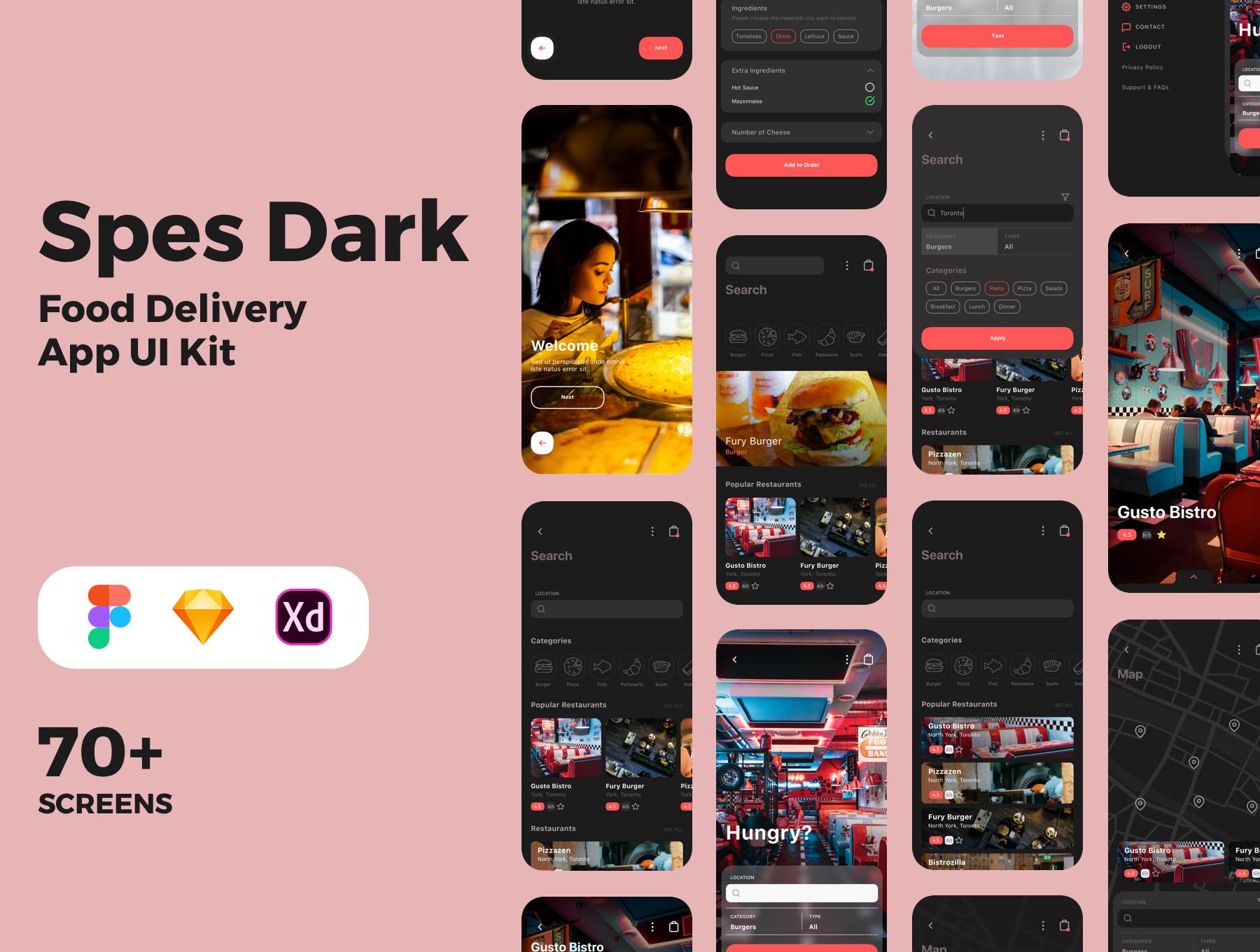 食品外卖配送服务移动应用APP界面设计UI套件 Spes Dark Food Delivery App UI Kit插图