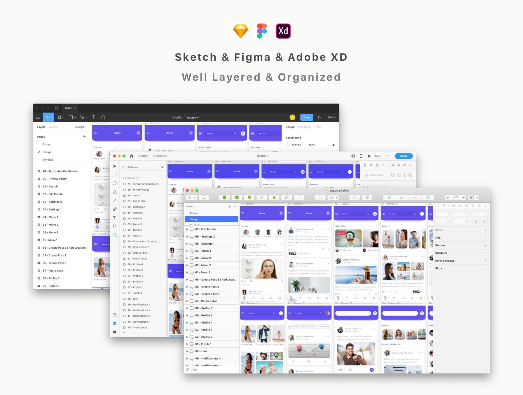 交友社交APP应用界面社交UI套件 Susen – Social Network App UI Kit插图(2)