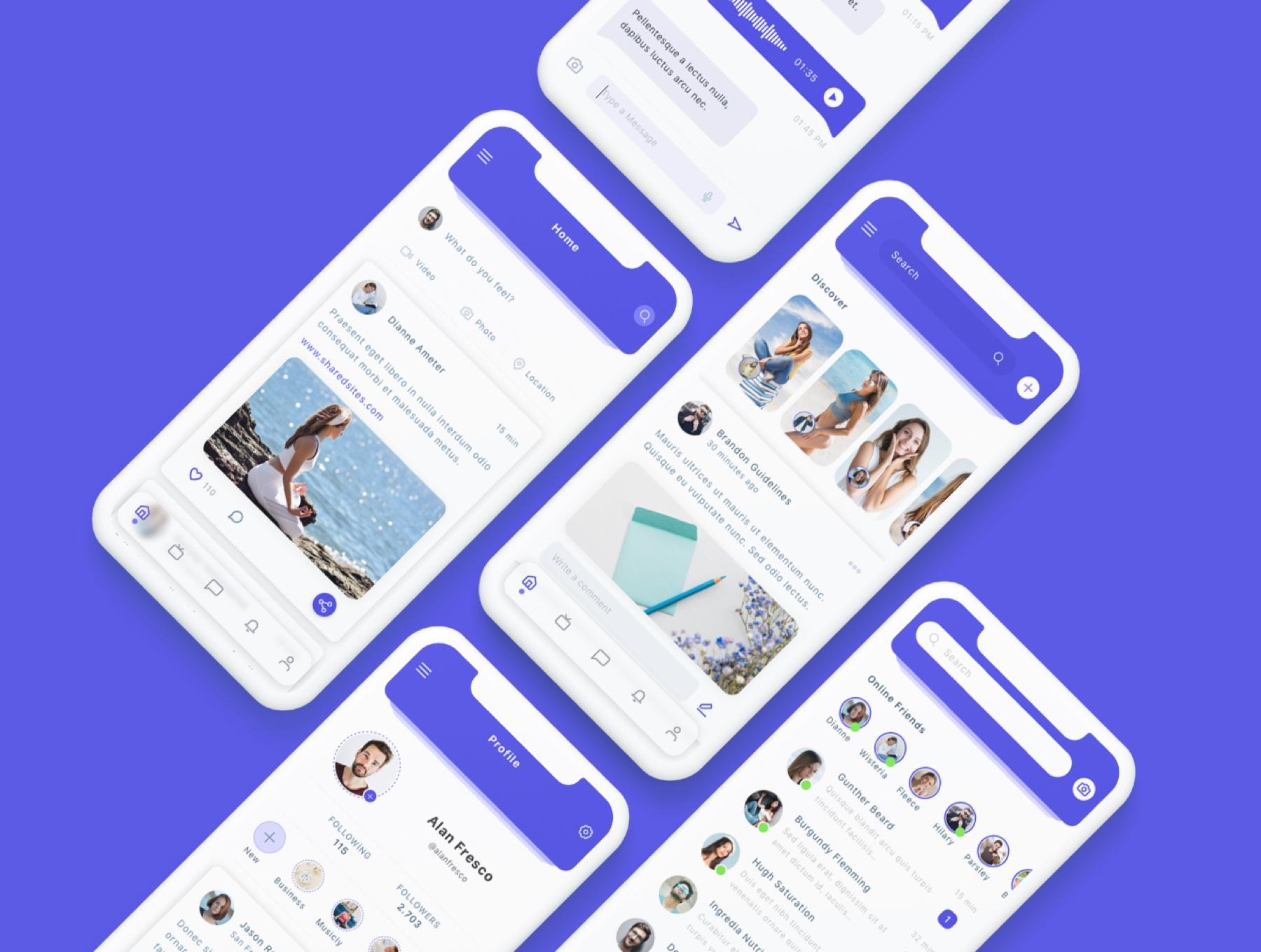 交友社交APP应用界面社交UI套件 Susen – Social Network App UI Kit插图(5)