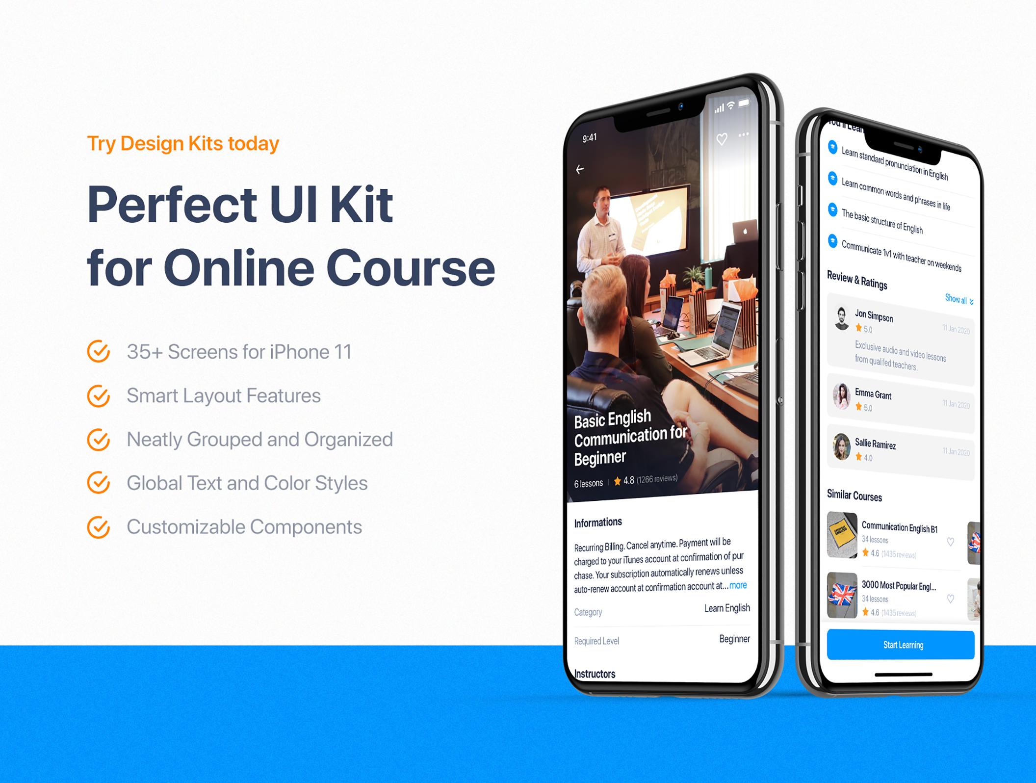 在线教育学习课程应用程序UI界面设计KIT套件 Edulake – Online Course mobile UI Kit插图(2)