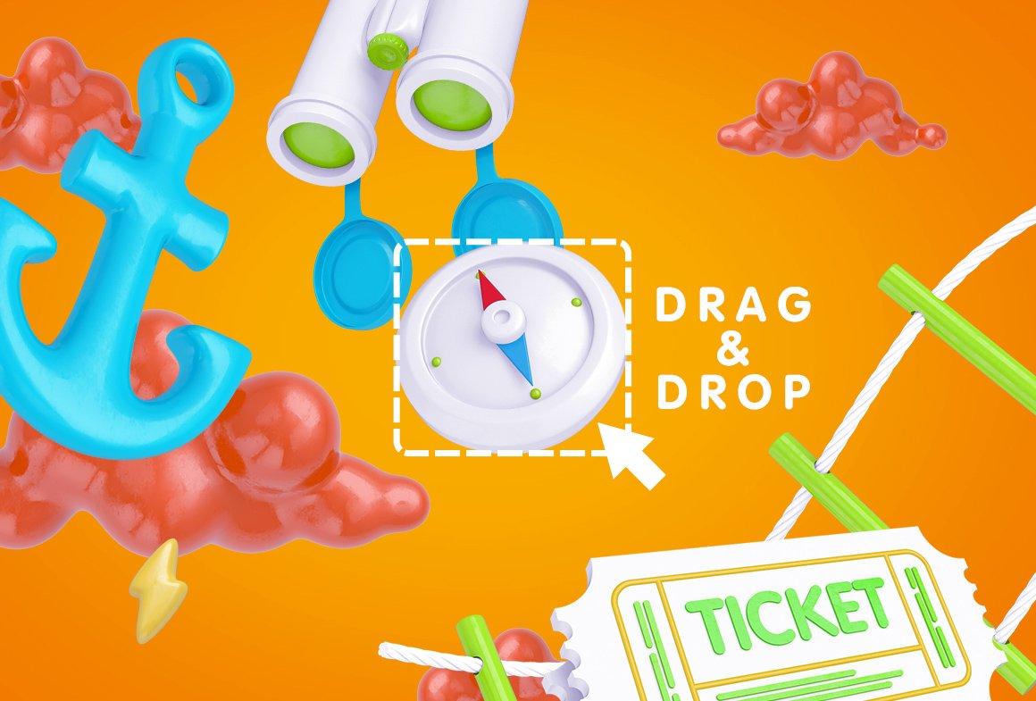 趣味卡通3D立体旅行主题场景元素海报设计智能贴图PSD样机素材 Bright Travel Items Scene Generator插图(14)