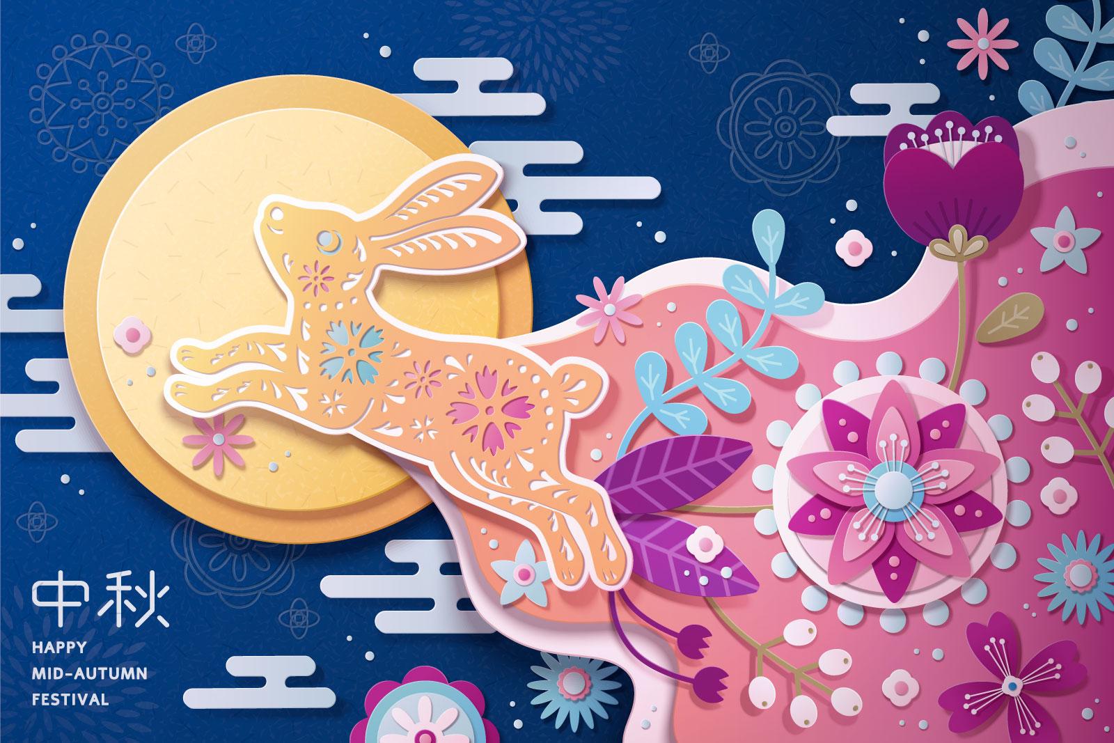 38款中国风中秋节主视觉海报插画AI广告设计素材源文件 Mid Autumn Festival Vector Pattern插图