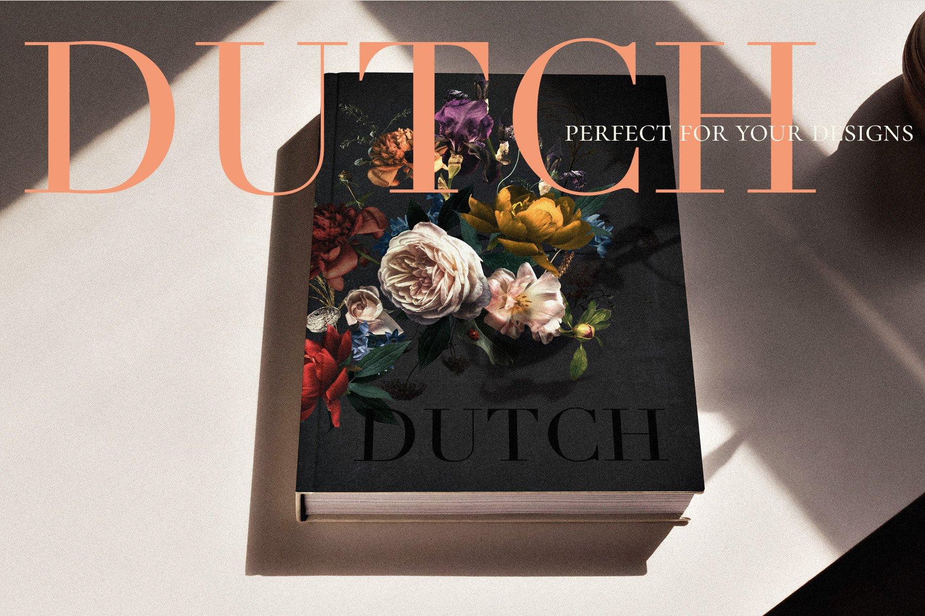 奢华复古宫廷花卉植物海报视觉设计PNG图片素材 Vintage Floral Clip Art – Dutch插图(10)