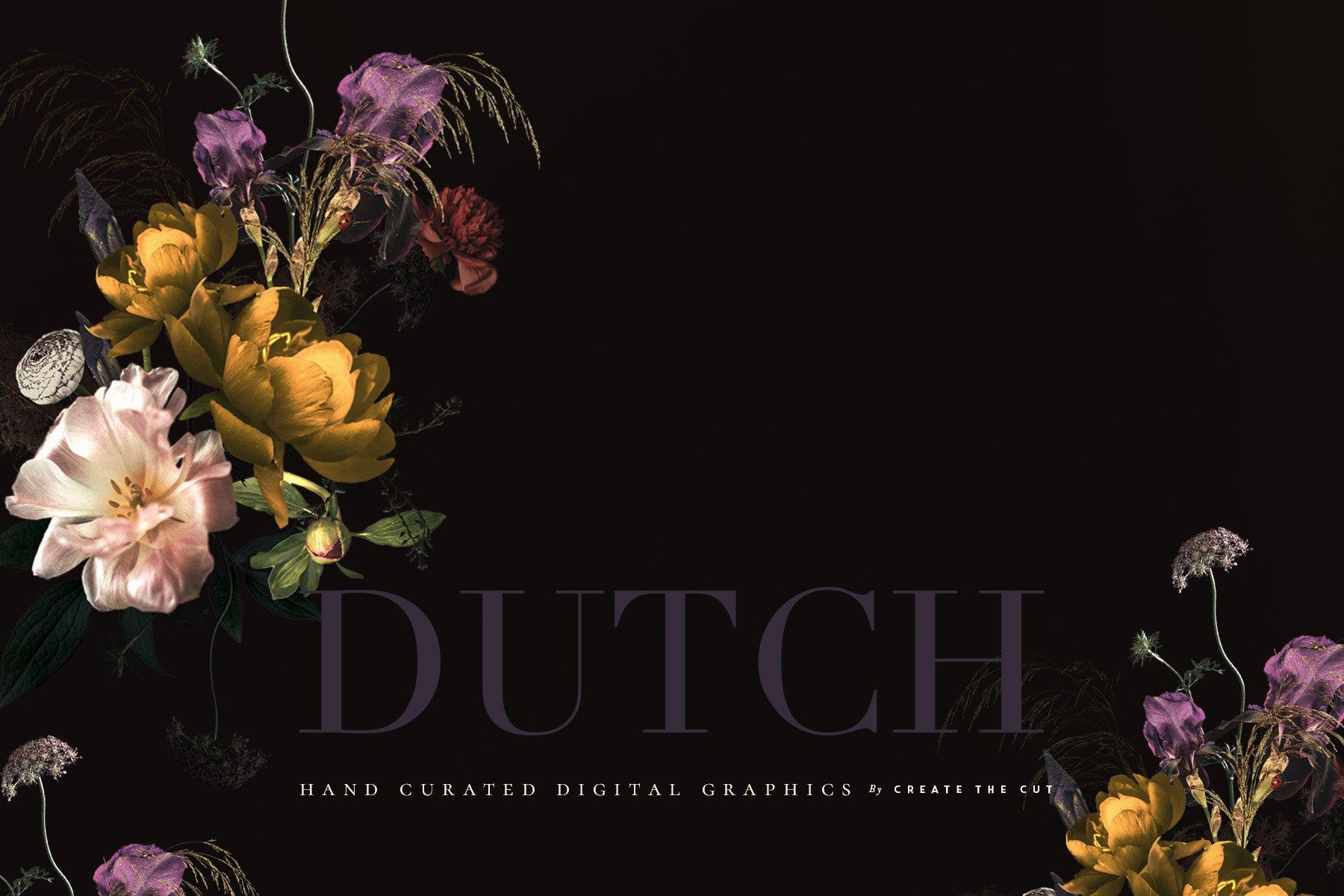 奢华复古宫廷花卉植物海报视觉设计PNG图片素材 Vintage Floral Clip Art – Dutch插图(1)