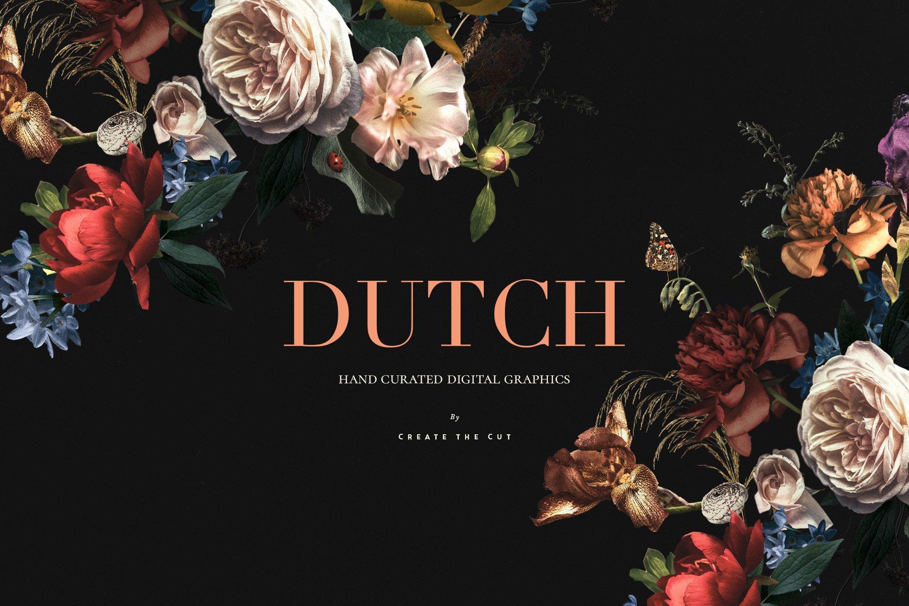 奢华复古宫廷花卉植物海报视觉设计PNG图片素材 Vintage Floral Clip Art – Dutch插图(3)