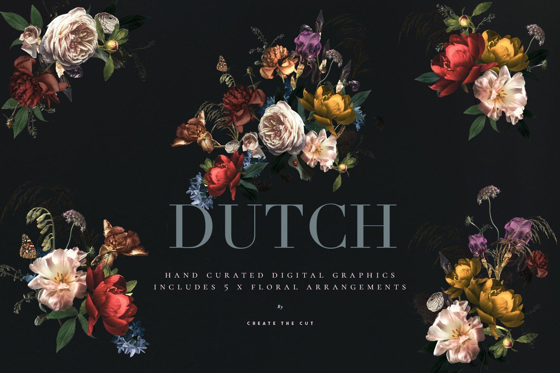 奢华复古宫廷花卉植物海报视觉设计PNG图片素材 Vintage Floral Clip Art – Dutch插图(5)
