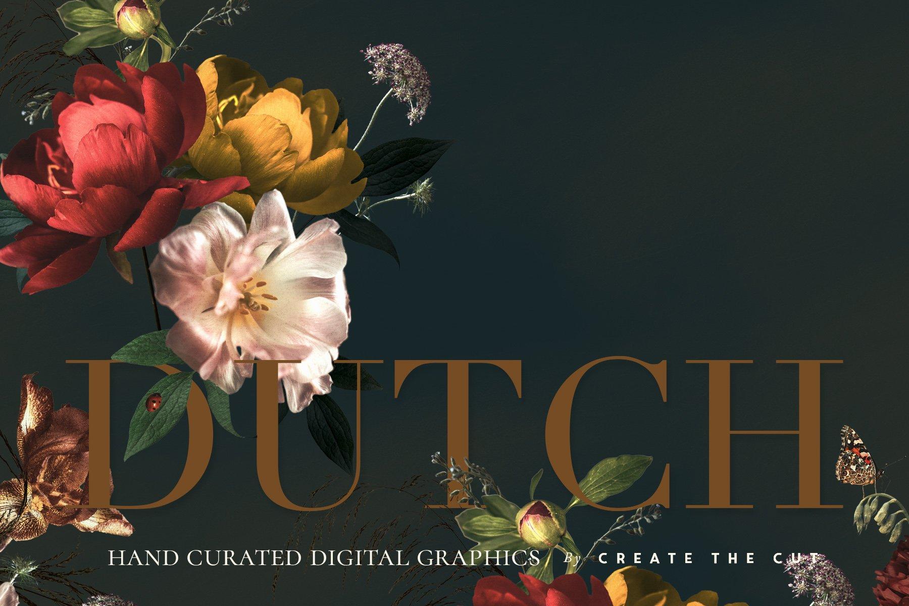 奢华复古宫廷花卉植物海报视觉设计PNG图片素材 Vintage Floral Clip Art – Dutch插图(7)